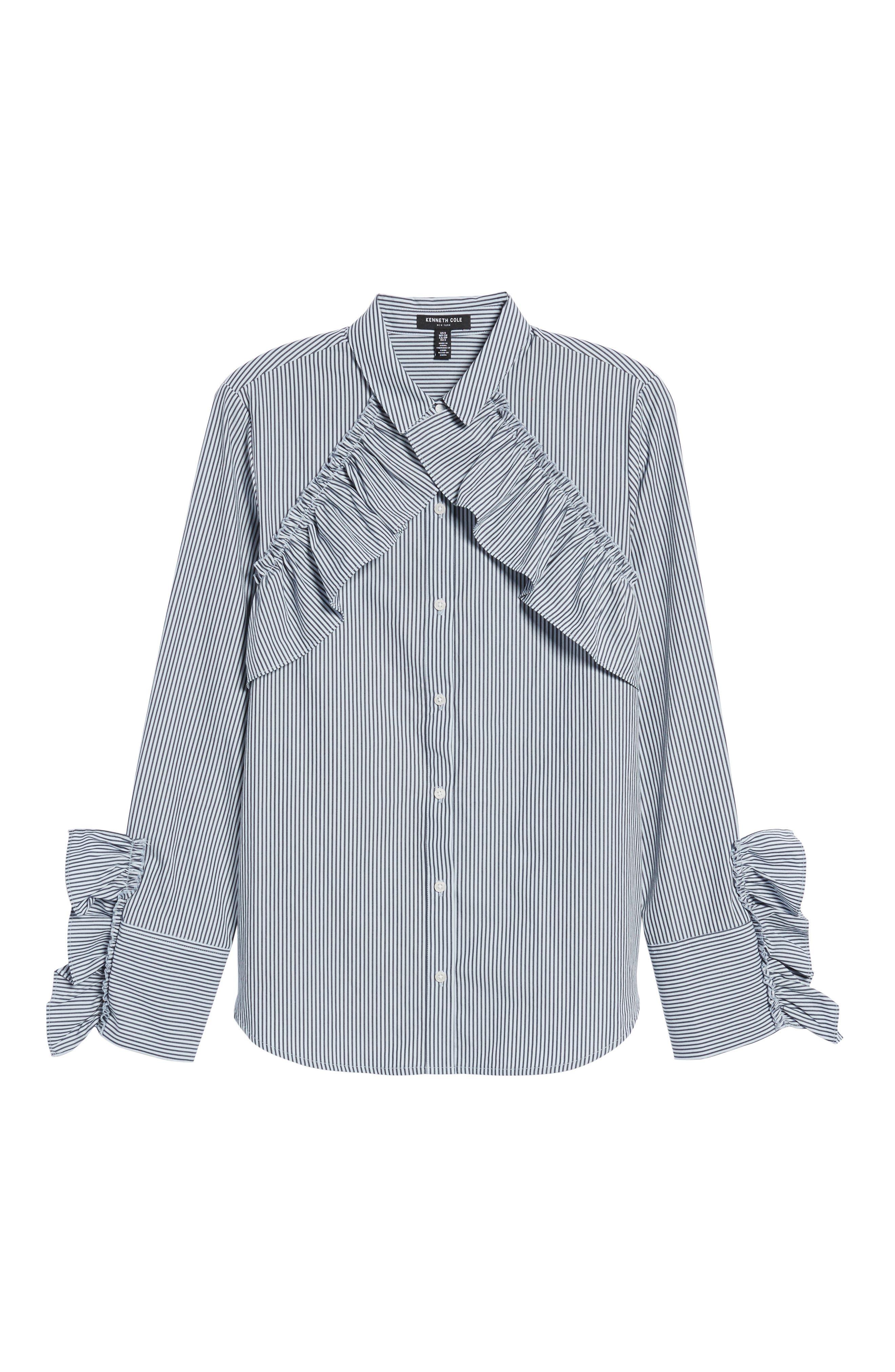 Ruffle Poplin Shirt,                             Alternate thumbnail 6, color,                             460