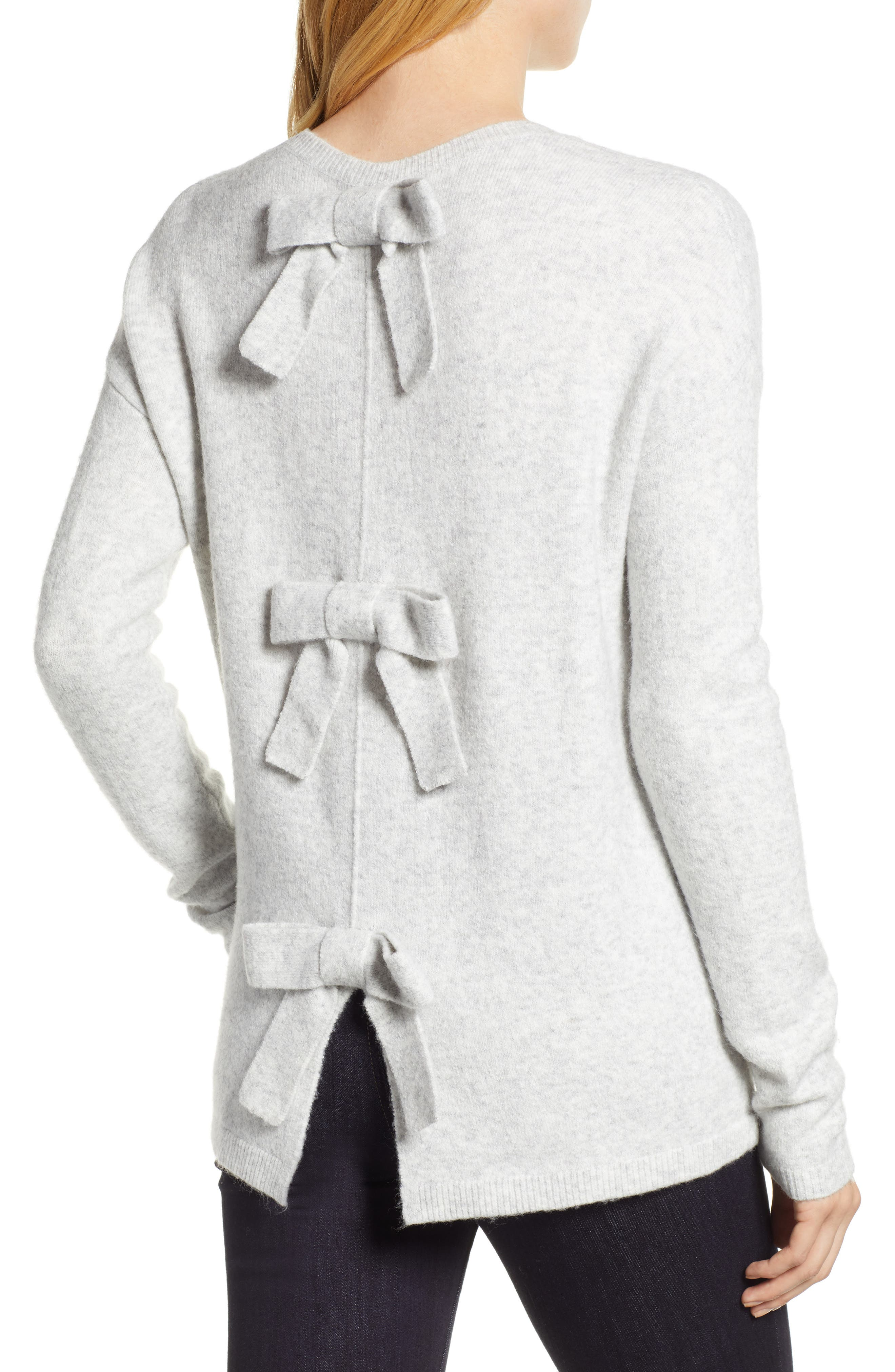Bow Back Sweater,                             Alternate thumbnail 2, color,                             HEATHER LIGHT GREY