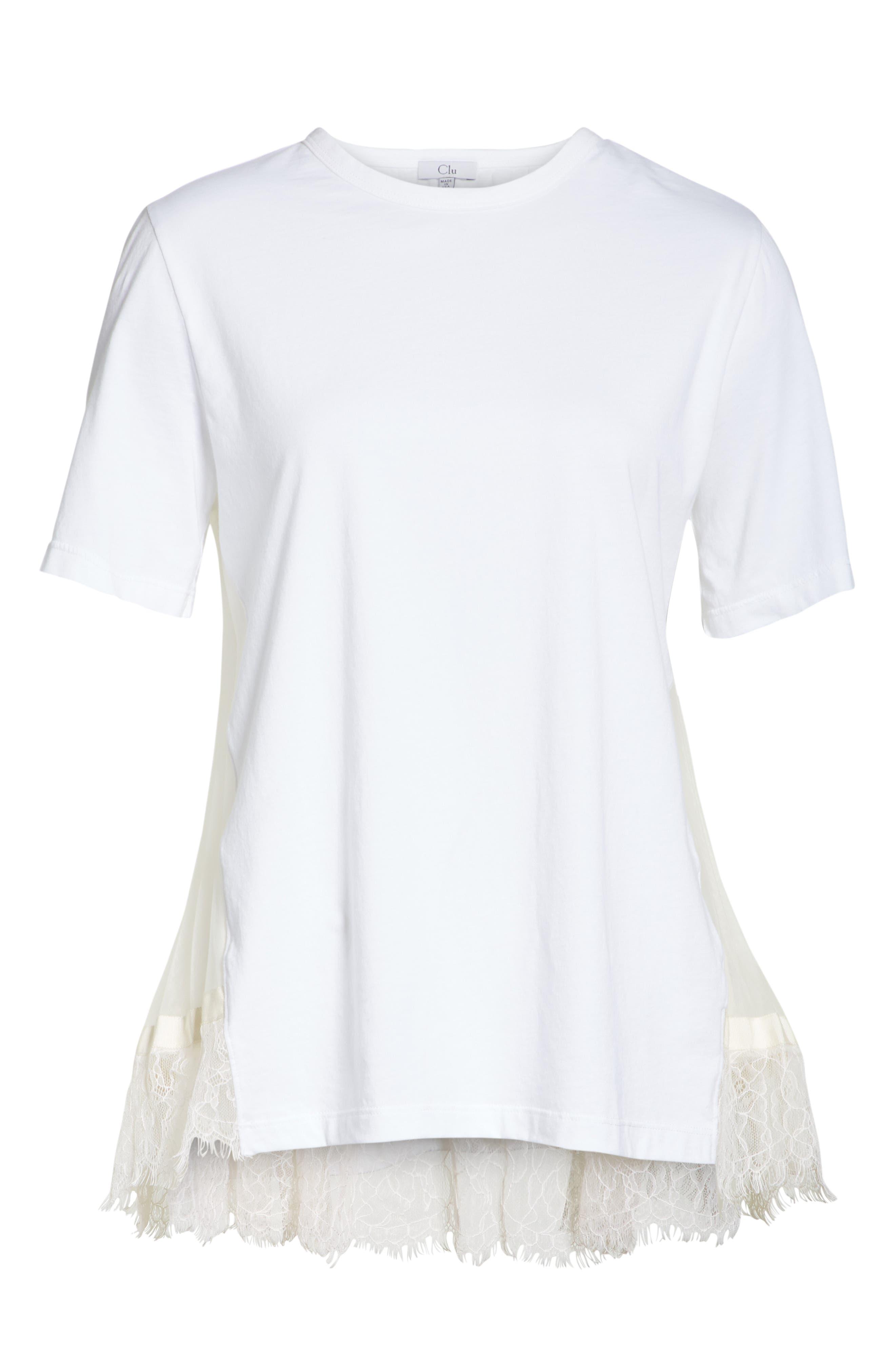 Lace Trim Pleat Back Top,                             Alternate thumbnail 6, color,                             WHITE