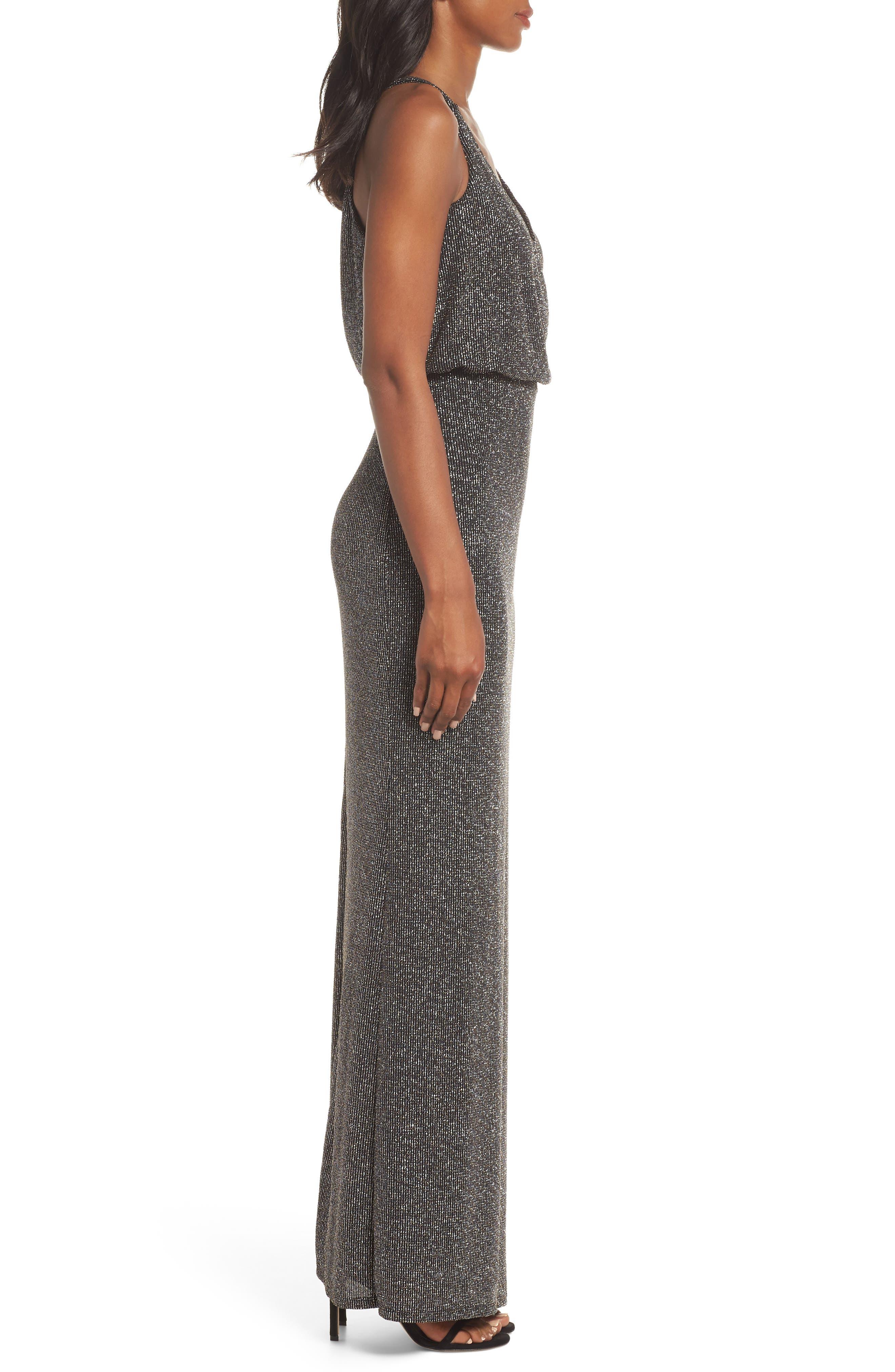 Blouson Gown,                             Alternate thumbnail 3, color,                             BLACK