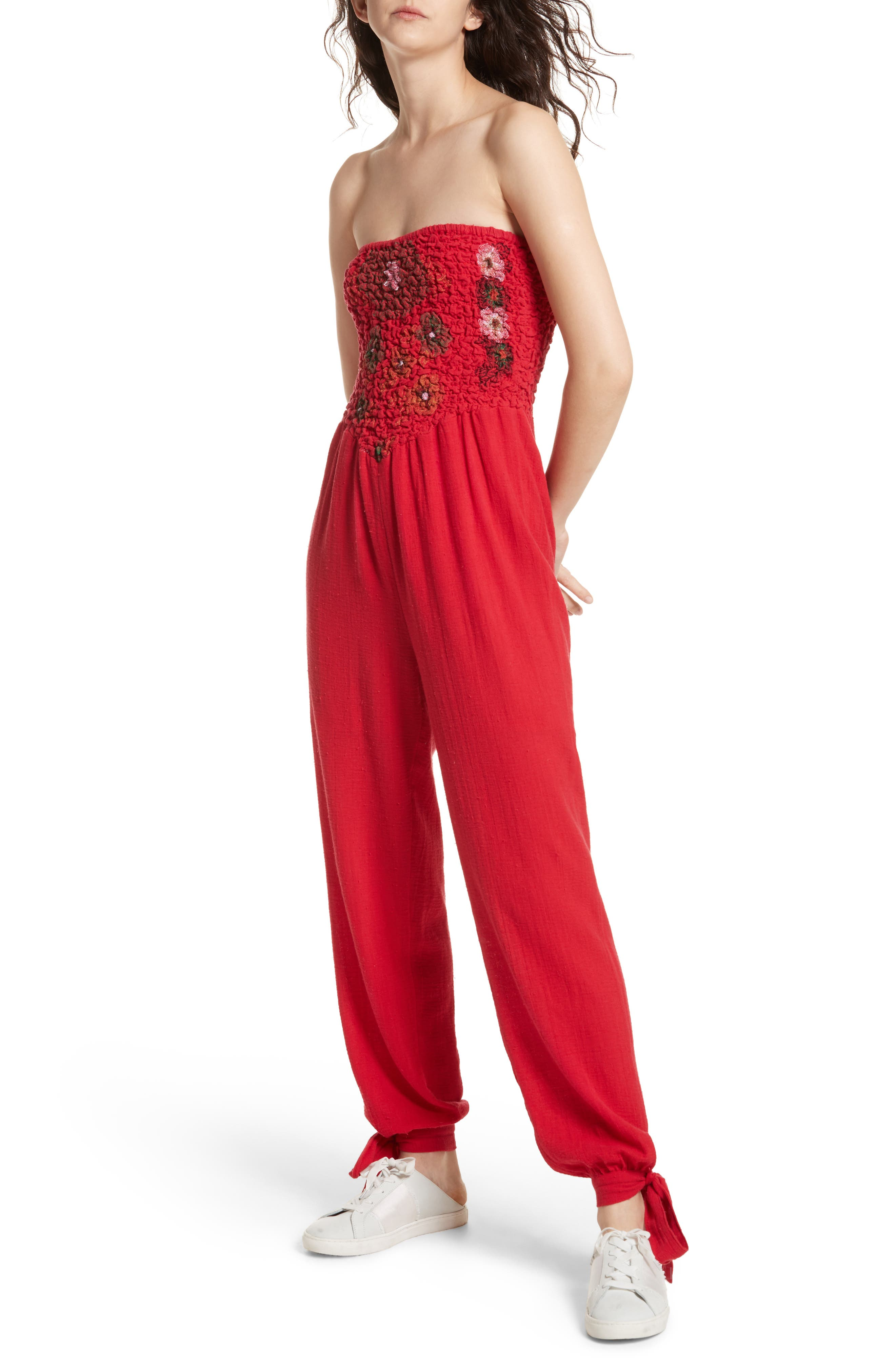 Karan Strapless Smocked Jumpsuit,                             Main thumbnail 2, color,