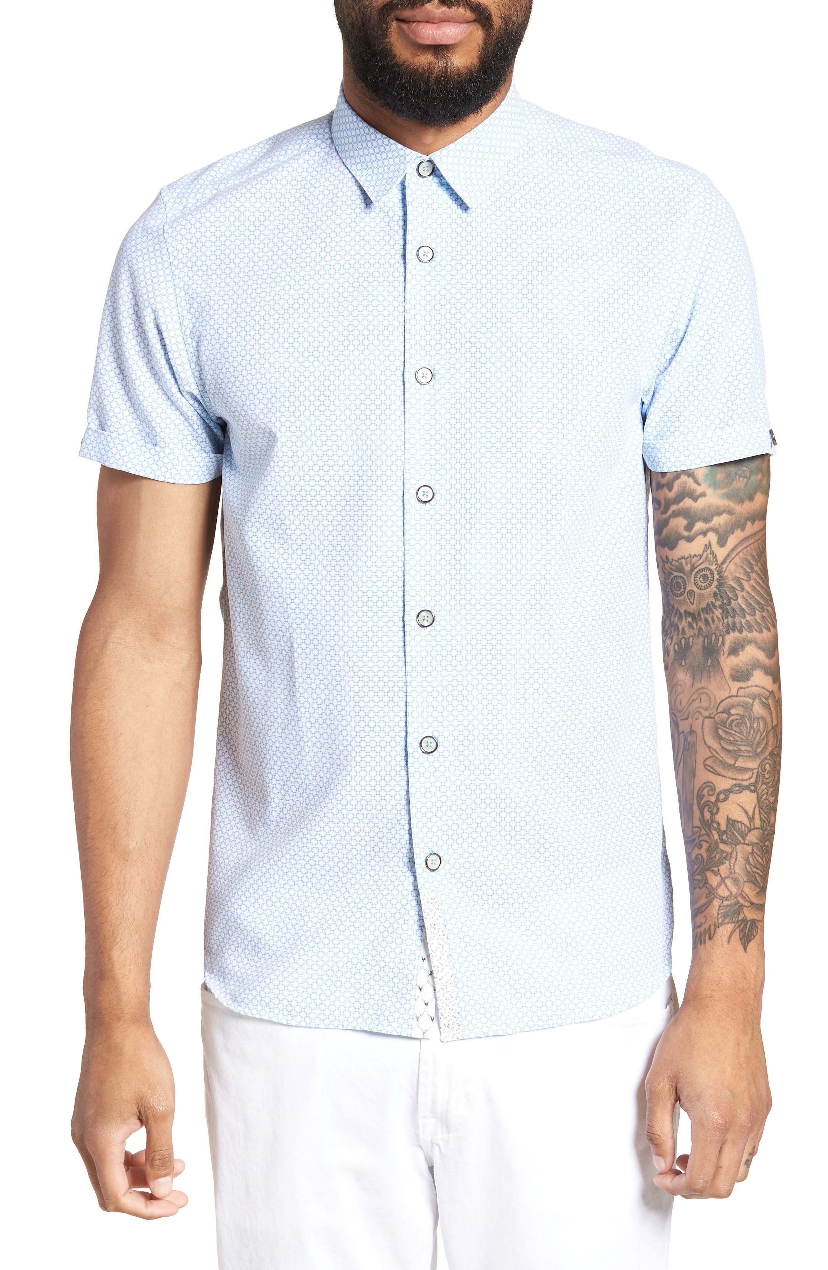 Slim Fit Short Sleeve Sport Shirt,                         Main,                         color, WHITE