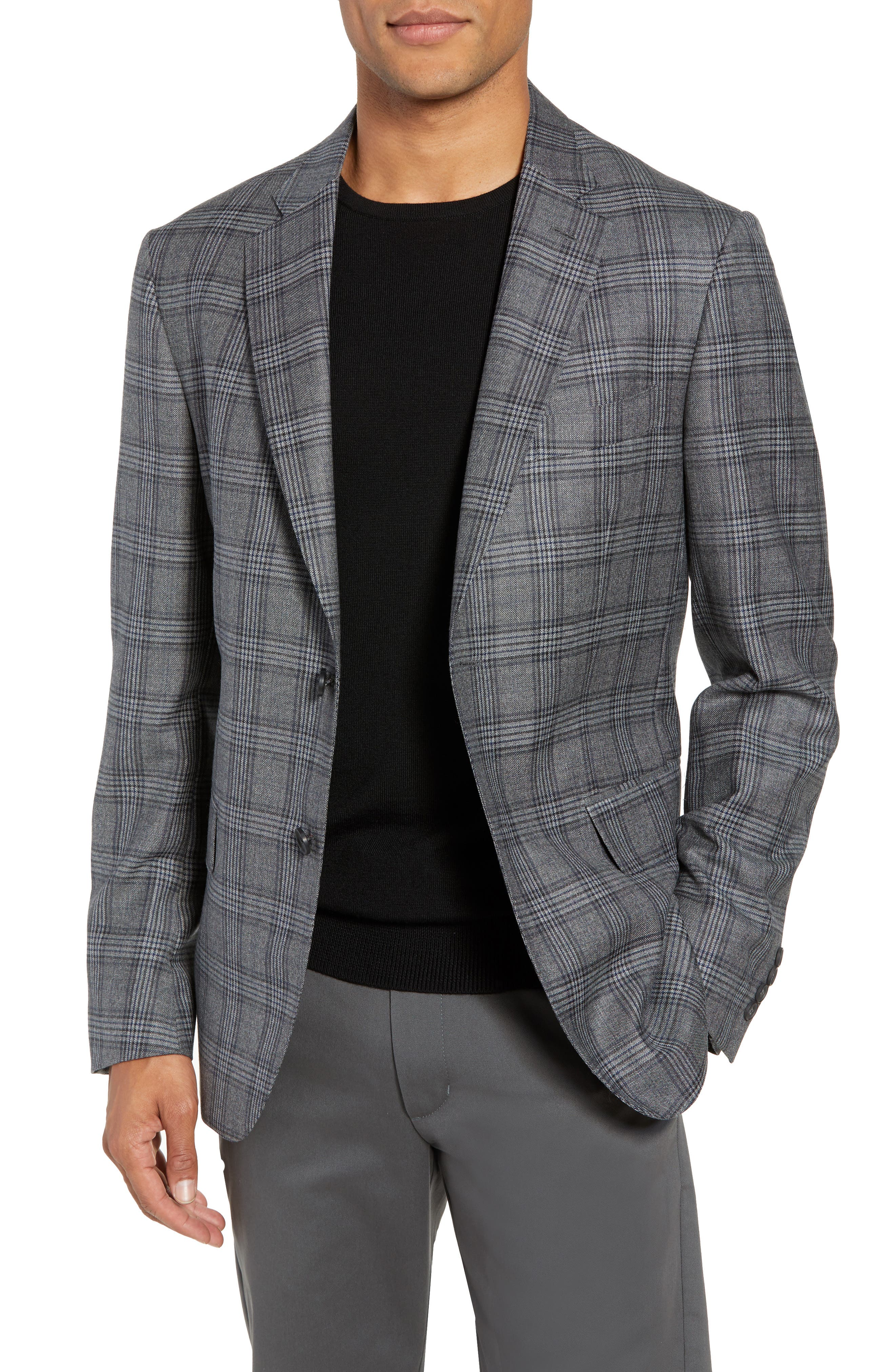 Traditional Fit Plaid Wool Sport Coat,                             Main thumbnail 1, color,                             GREY