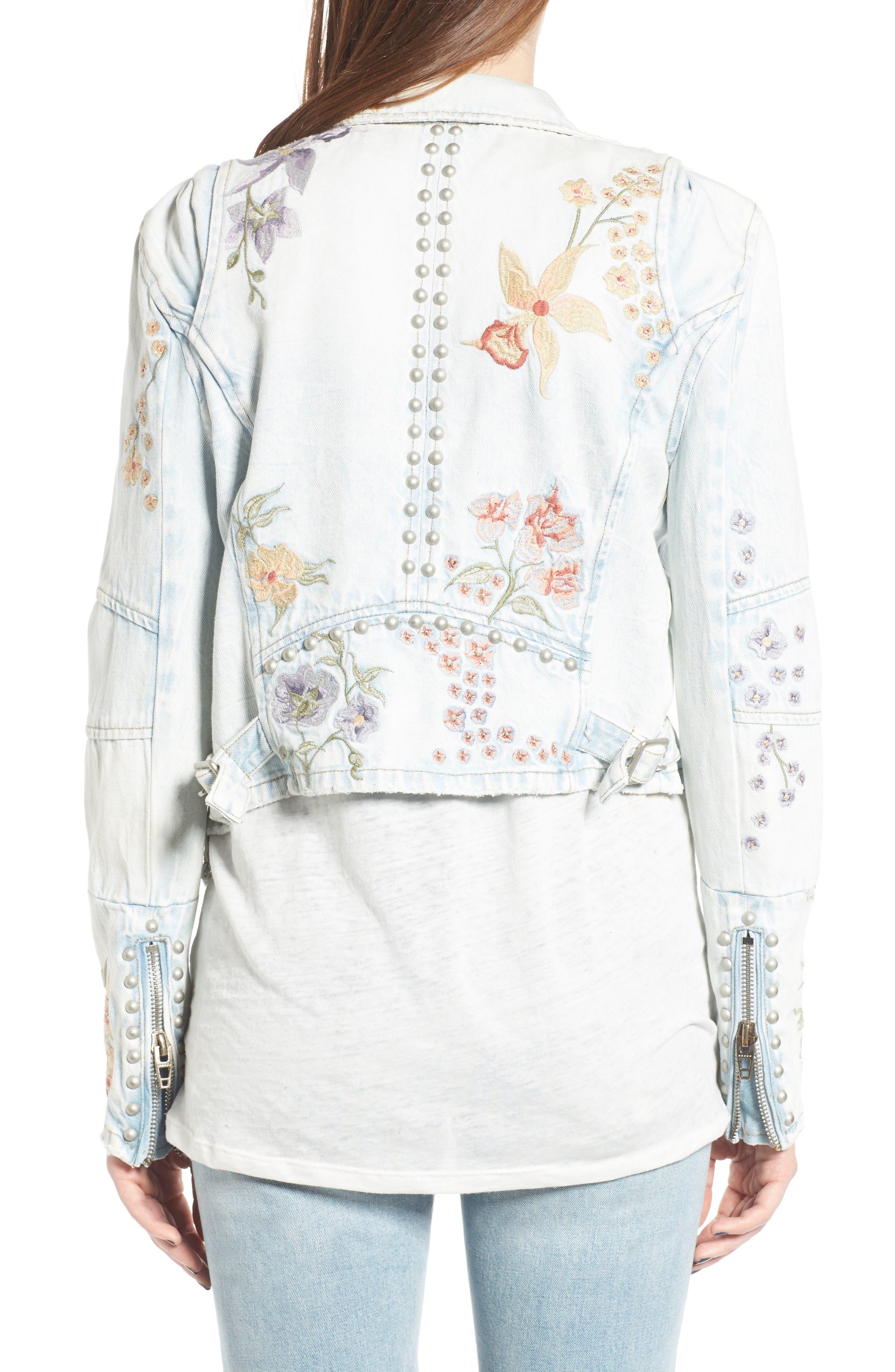 Embroidered Denim Moto Jacket,                             Alternate thumbnail 2, color,                             400