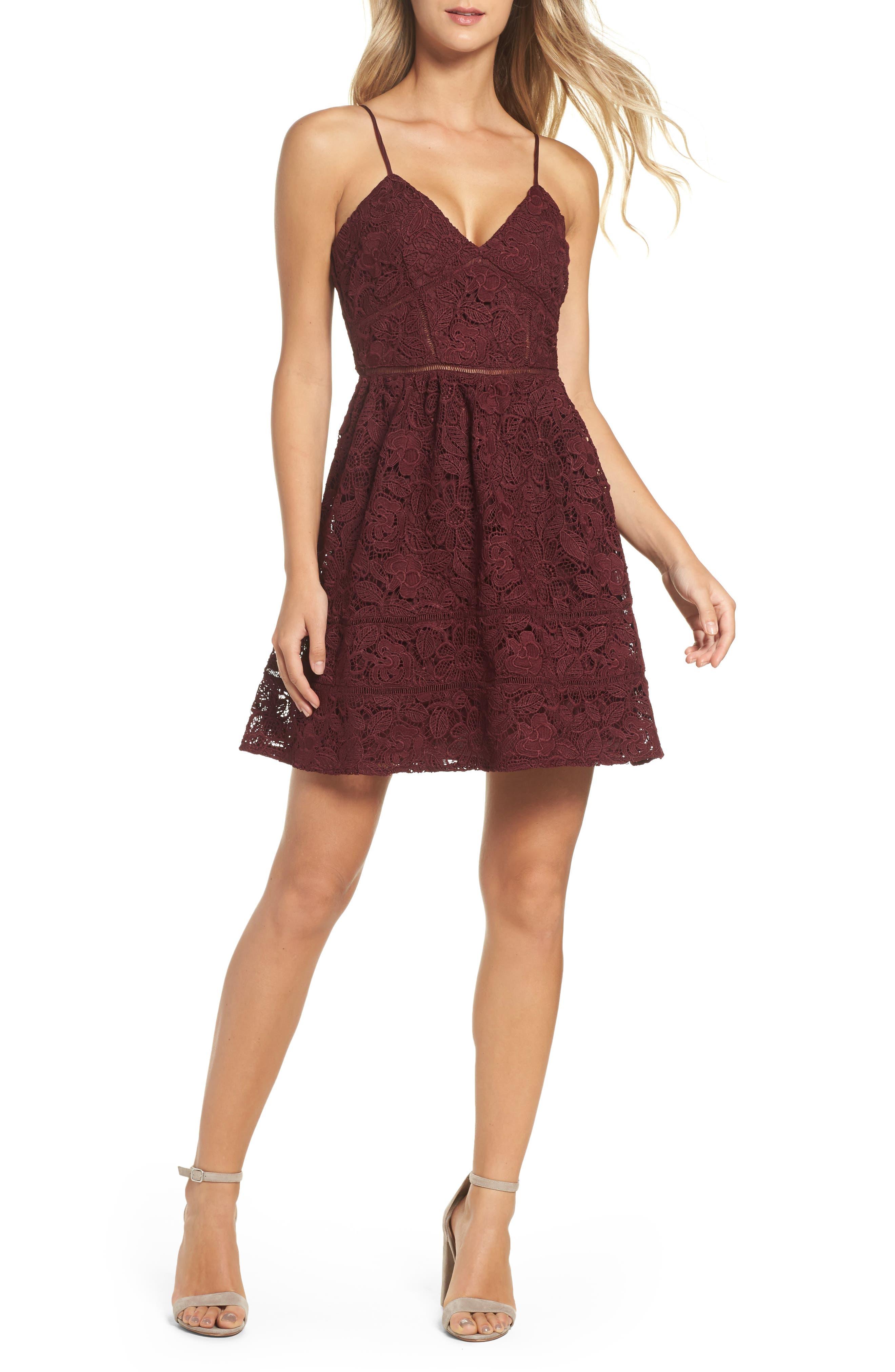 Sutton Lace Fit & Flare Dress,                             Main thumbnail 1, color,                             930