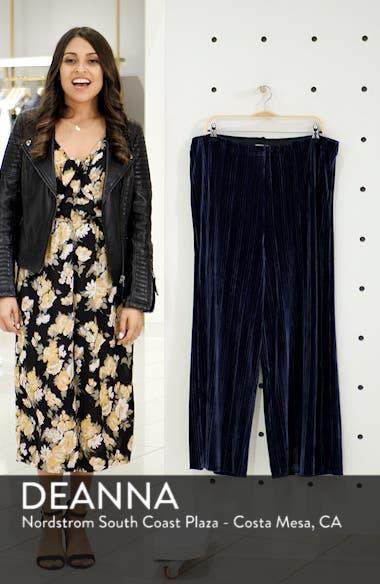 High Rise Velour Wide Leg Crop Pants, sales video thumbnail