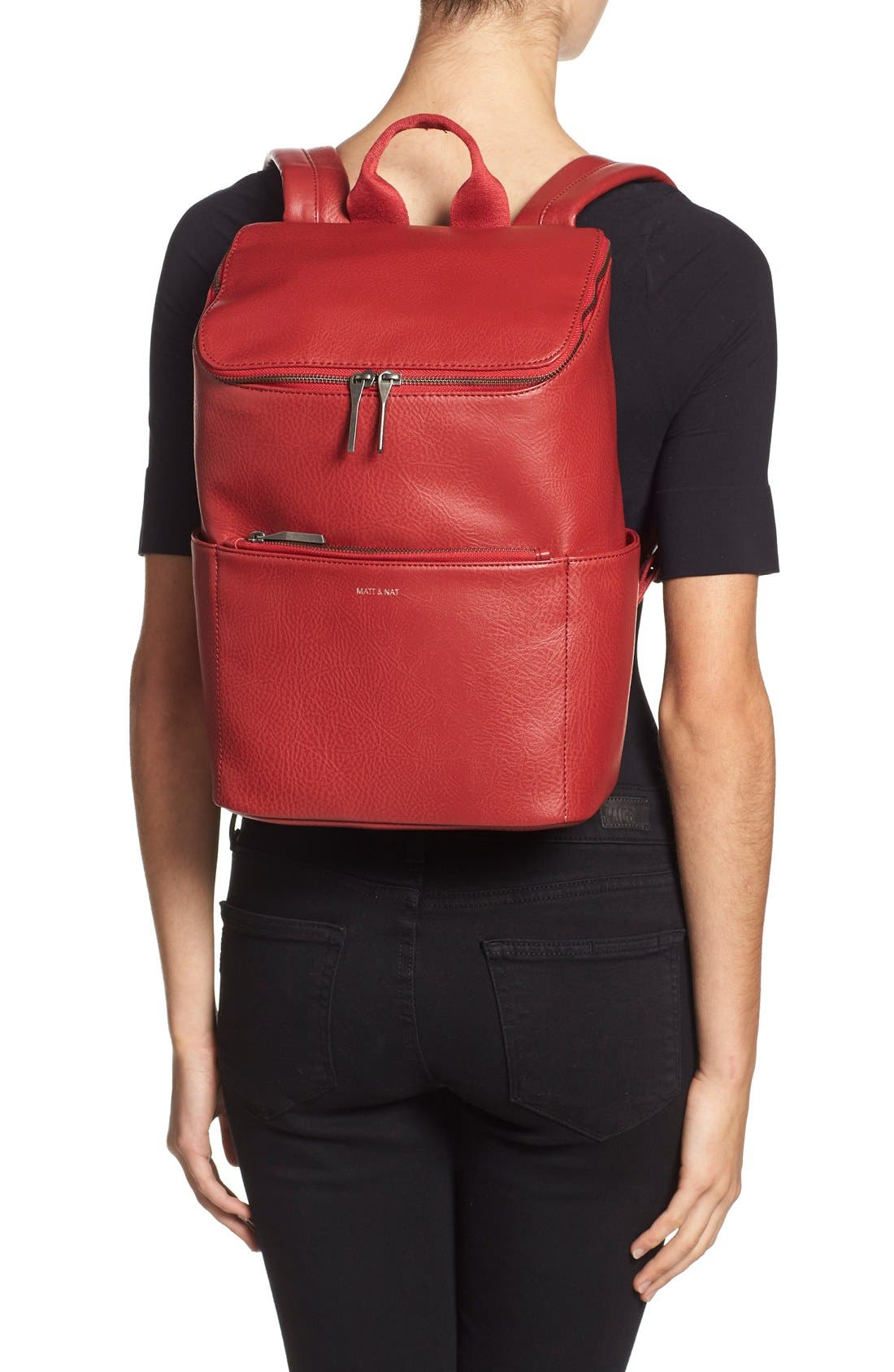 'Brave' Faux Leather Backpack,                             Alternate thumbnail 37, color,