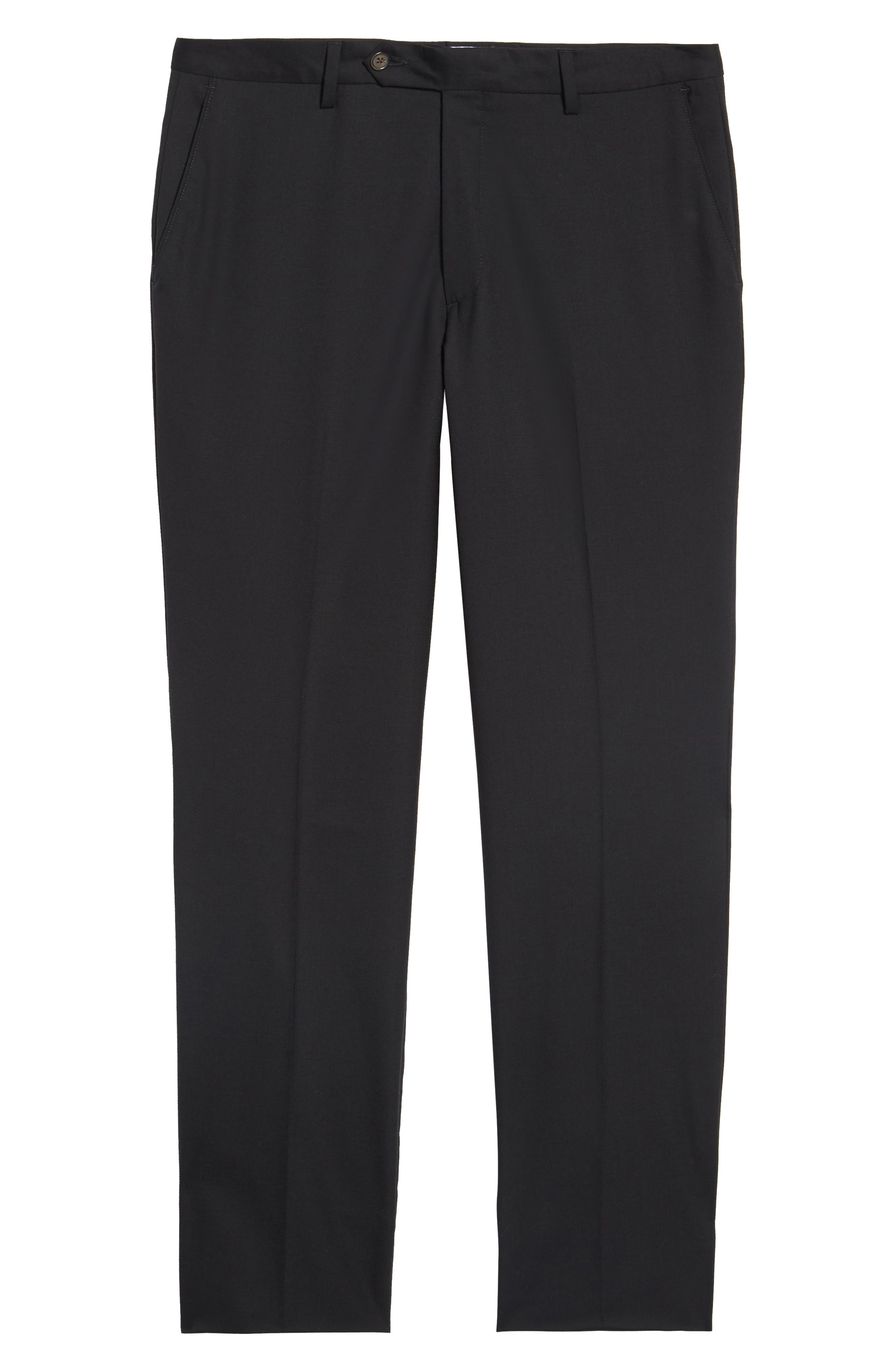 BERLE,                             Flat Front Stretch Solid Wool Trousers,                             Alternate thumbnail 6, color,                             001