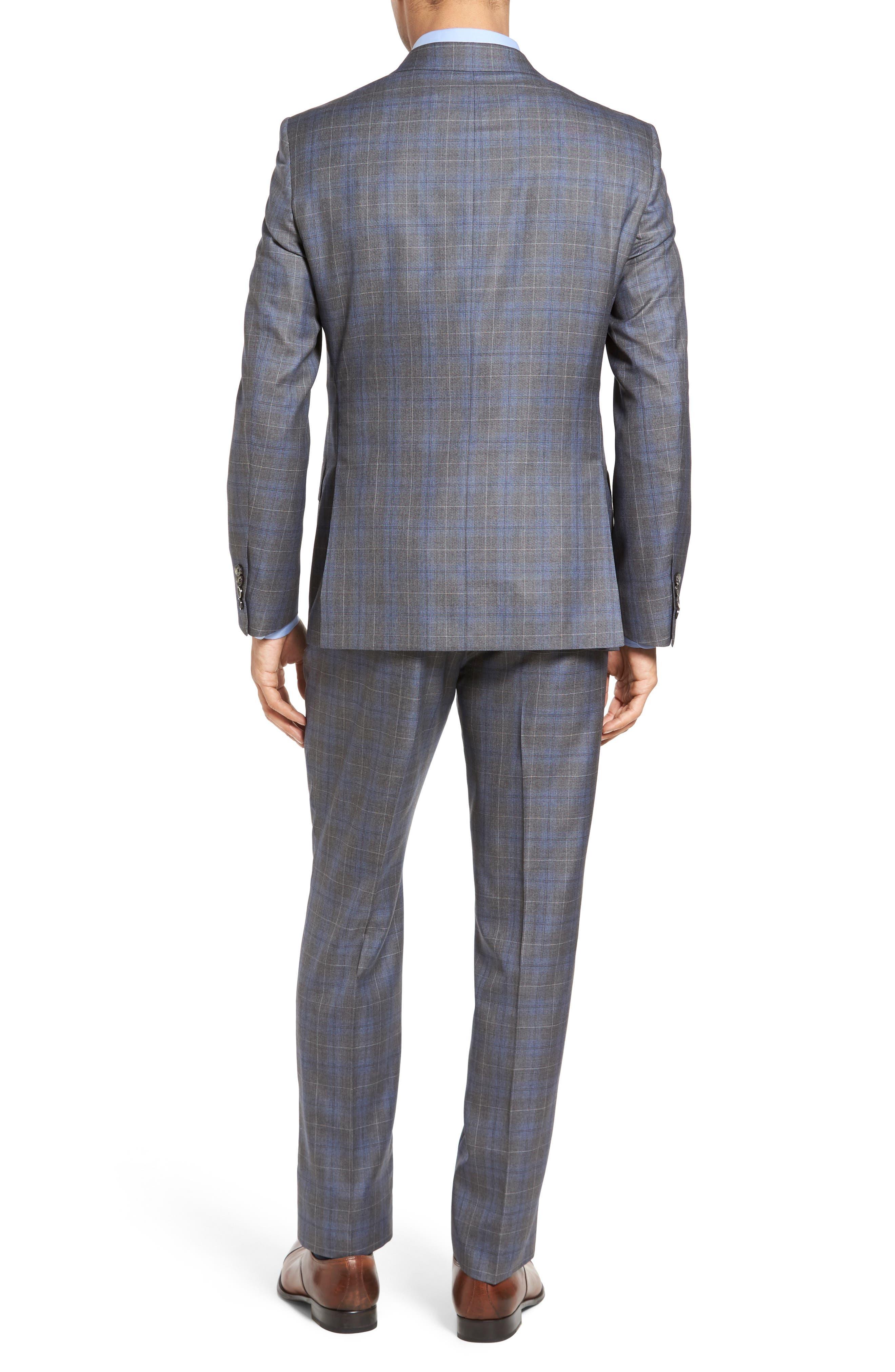 Classic Fit Plaid Wool & Silk Suit,                             Alternate thumbnail 2, color,