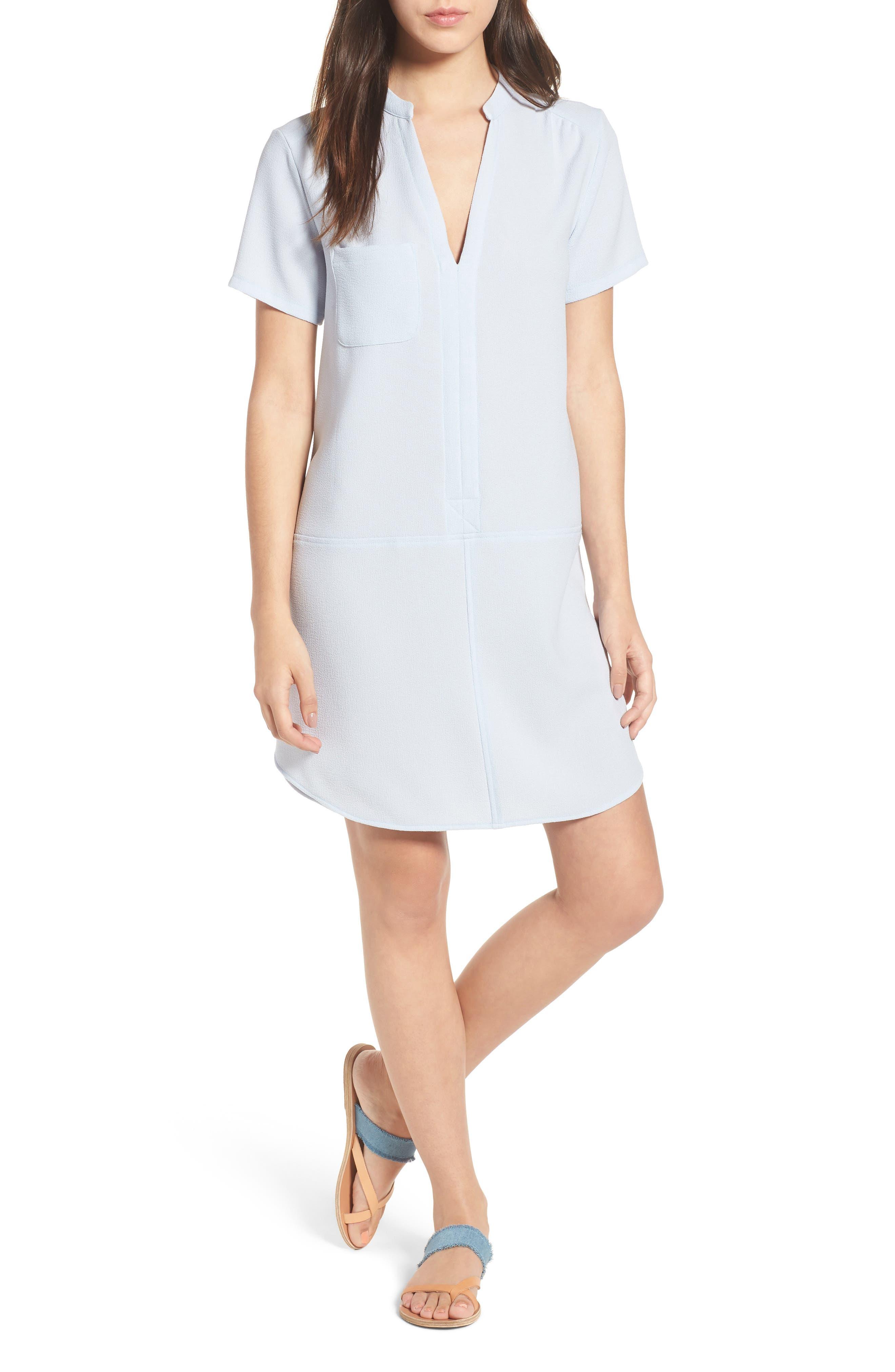 Hailey Crepe Dress,                             Main thumbnail 1, color,                             BALLAD BLUE