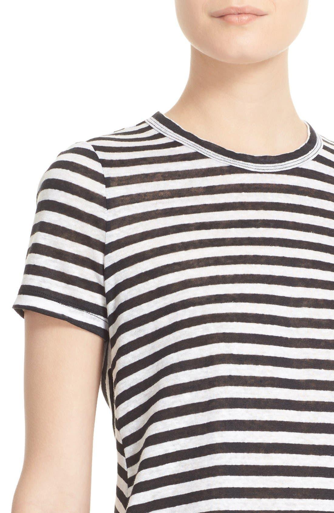 Tesi Stripe Linen Tee,                             Alternate thumbnail 4, color,                             193
