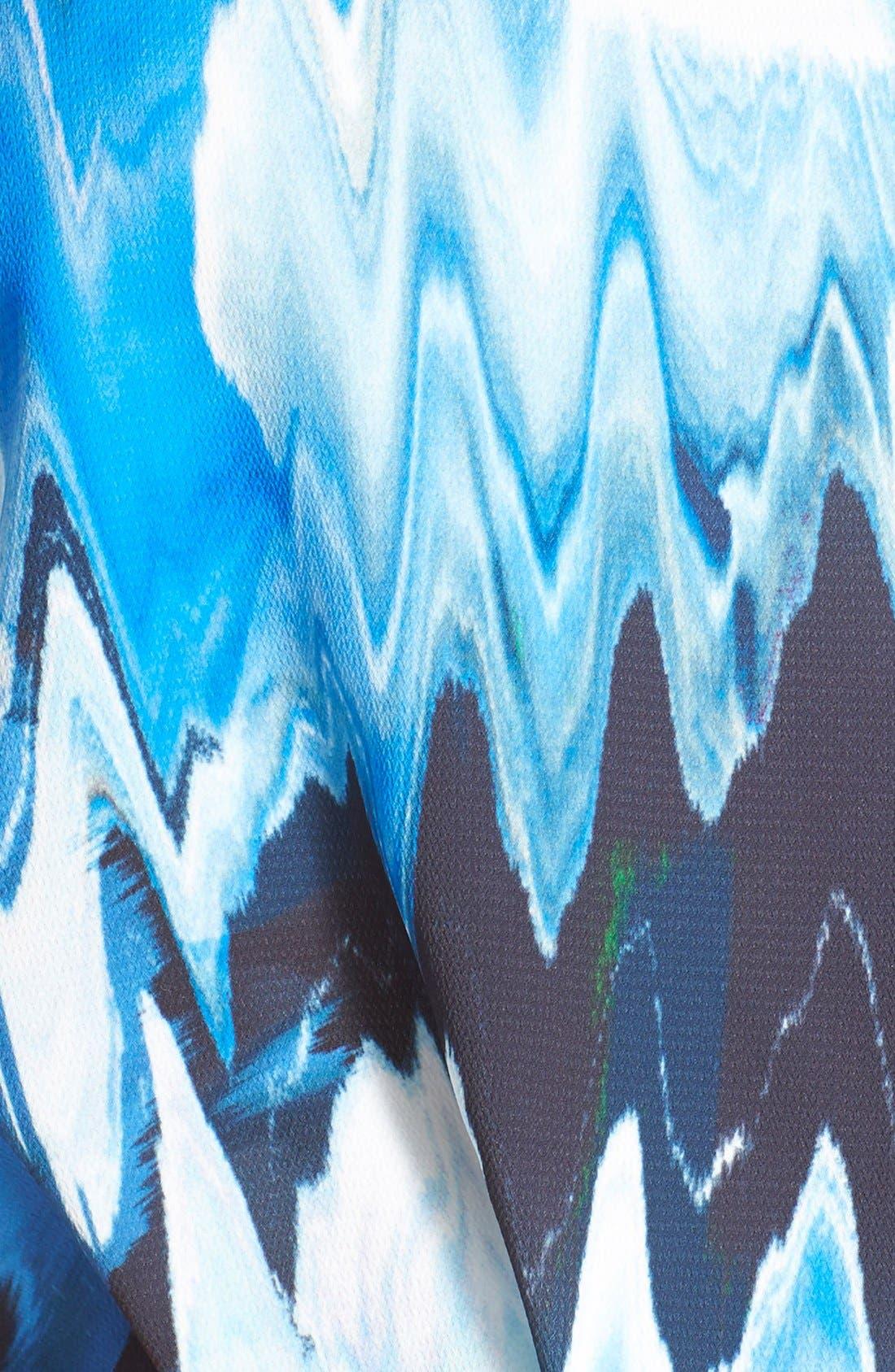 Print Faux Wrap Dress,                             Alternate thumbnail 9, color,                             BLUE WATERCOLOR FLORAL PRINT