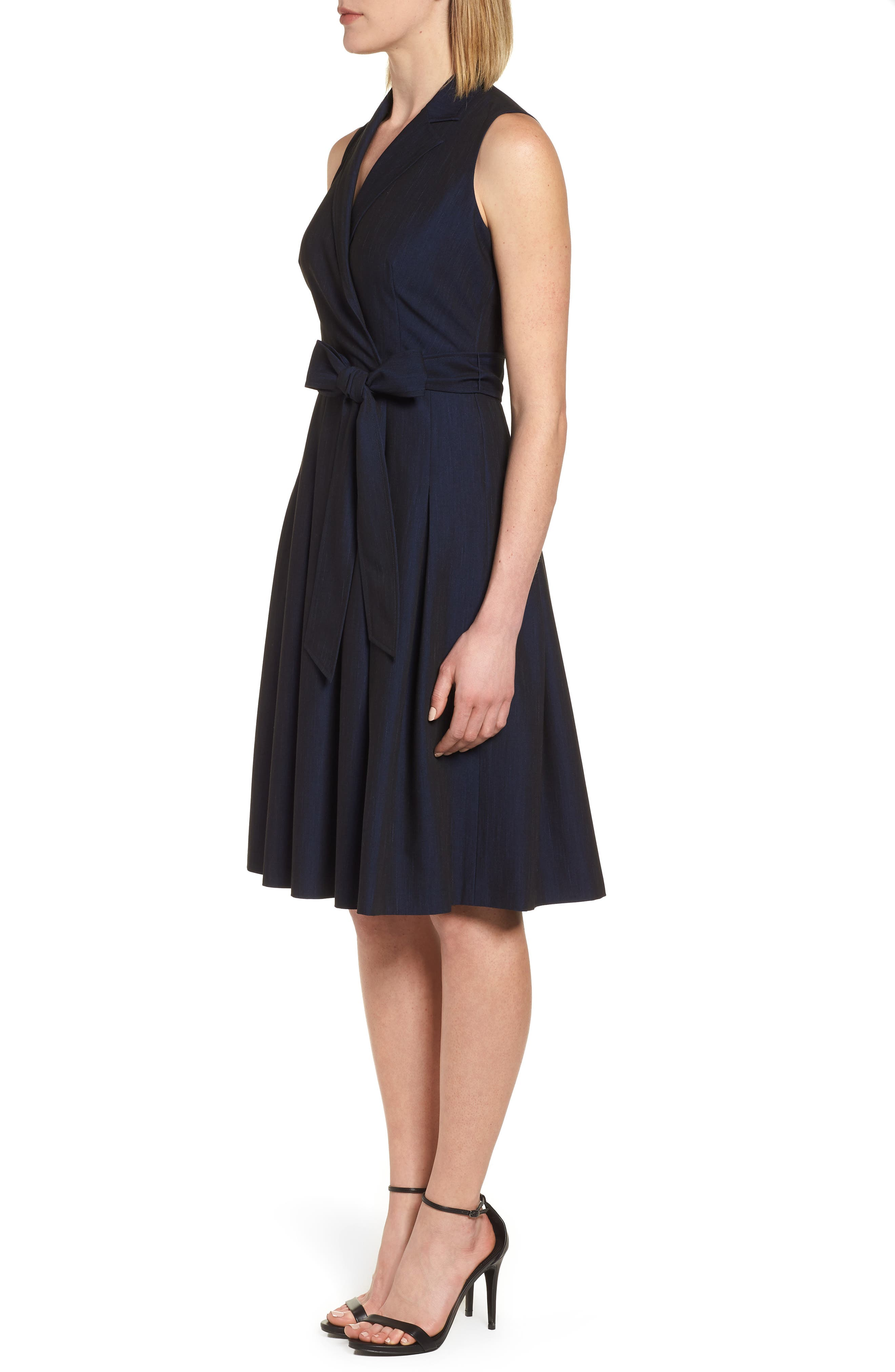 Notch Collar Stretch Denim Dress,                             Alternate thumbnail 6, color,