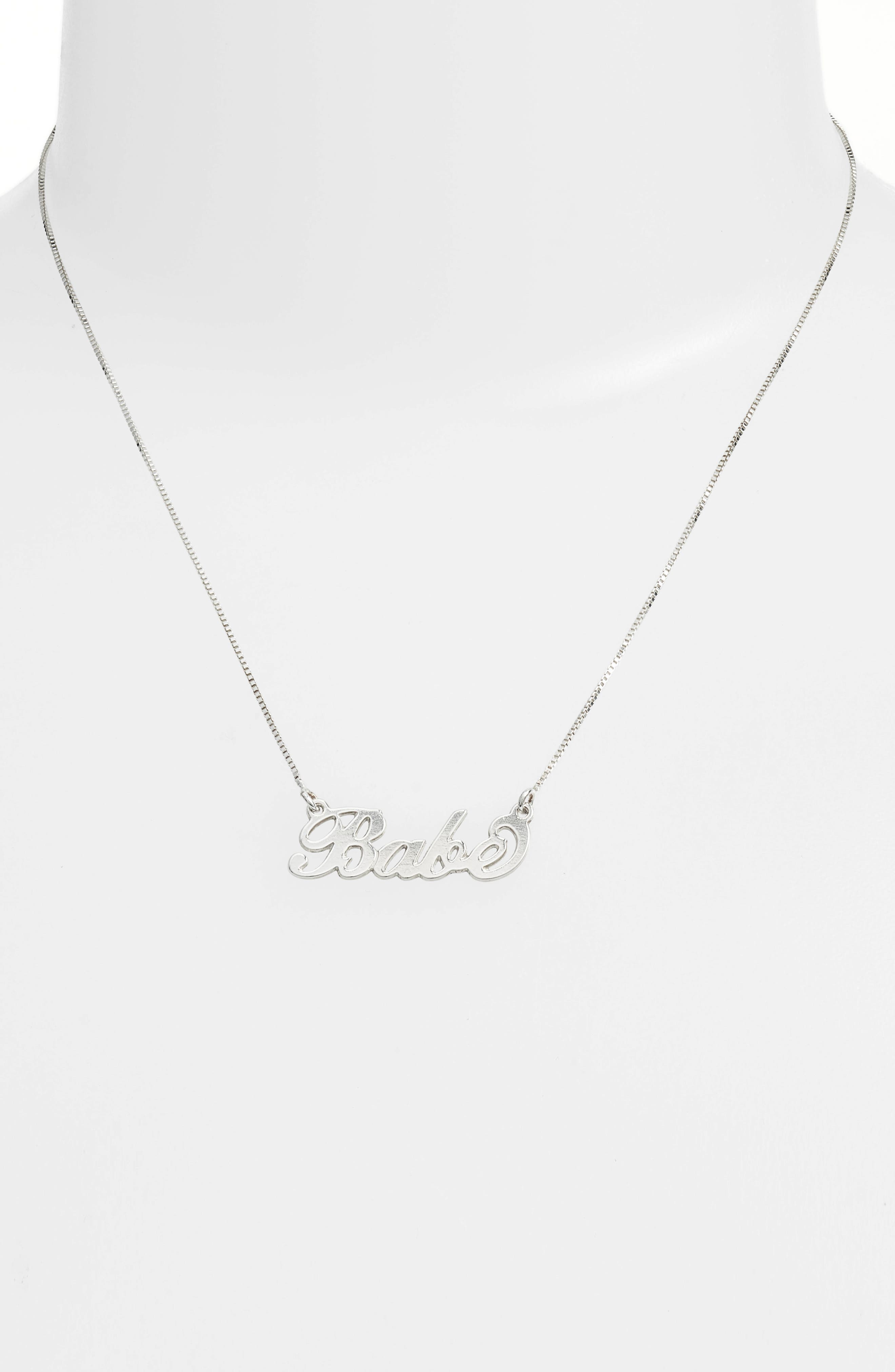 Classic Script Necklace,                             Alternate thumbnail 2, color,                             SILVER- BABE