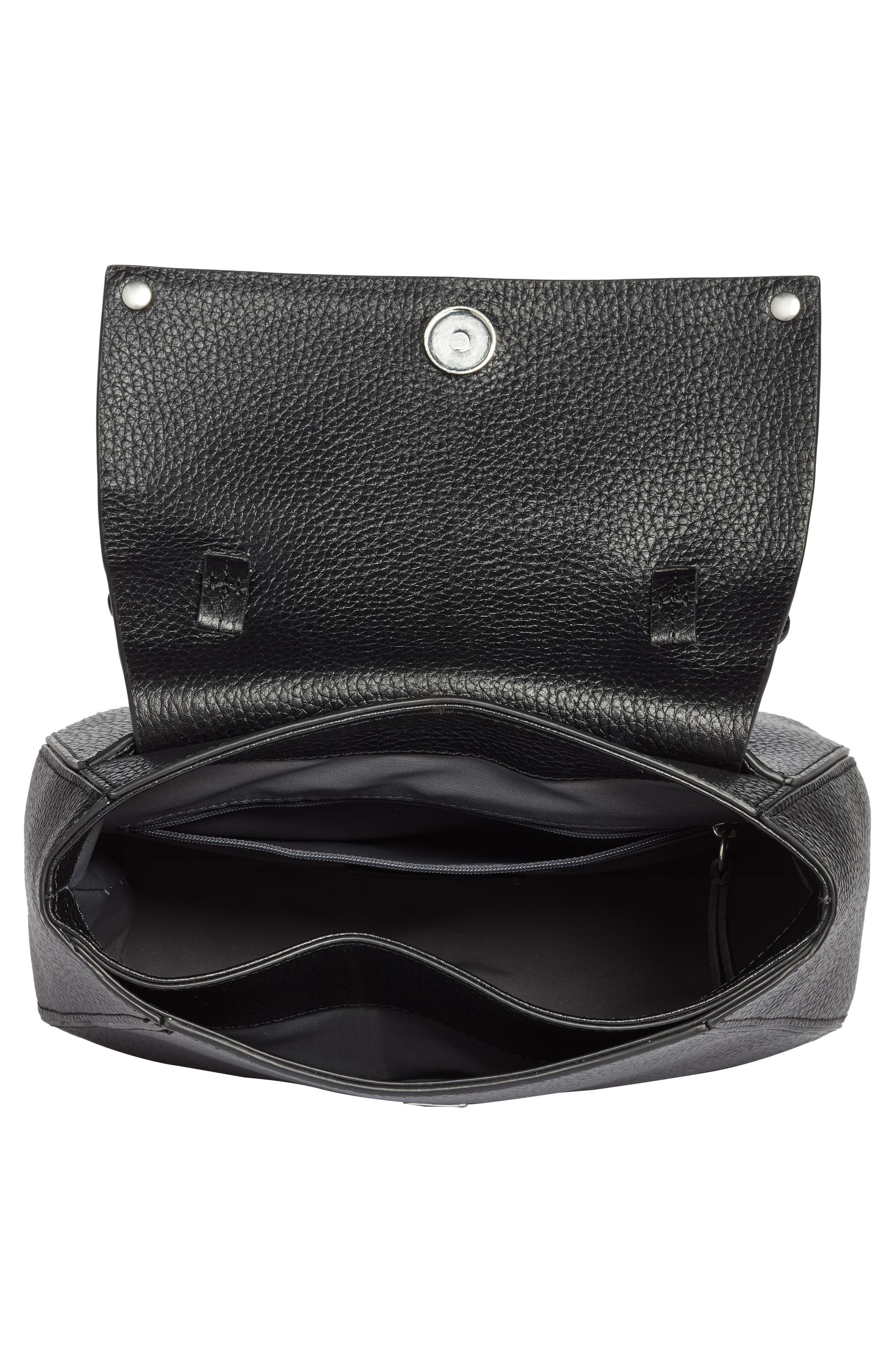 Skyler Leather Top Handle Bag,                             Alternate thumbnail 4, color,                             BLACK