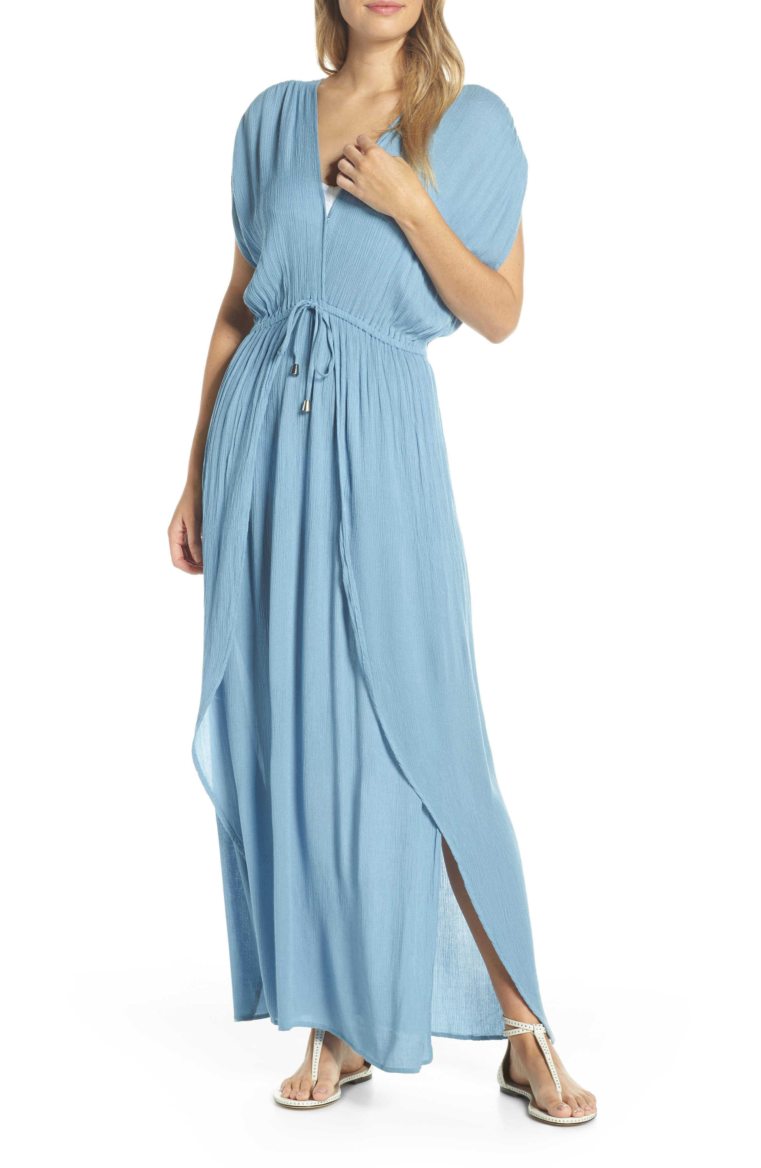70s Prom, Formal, Evening, Party Dresses Womens Elan Wrap Maxi Cover-Up Dress Size Medium - Blue $68.00 AT vintagedancer.com