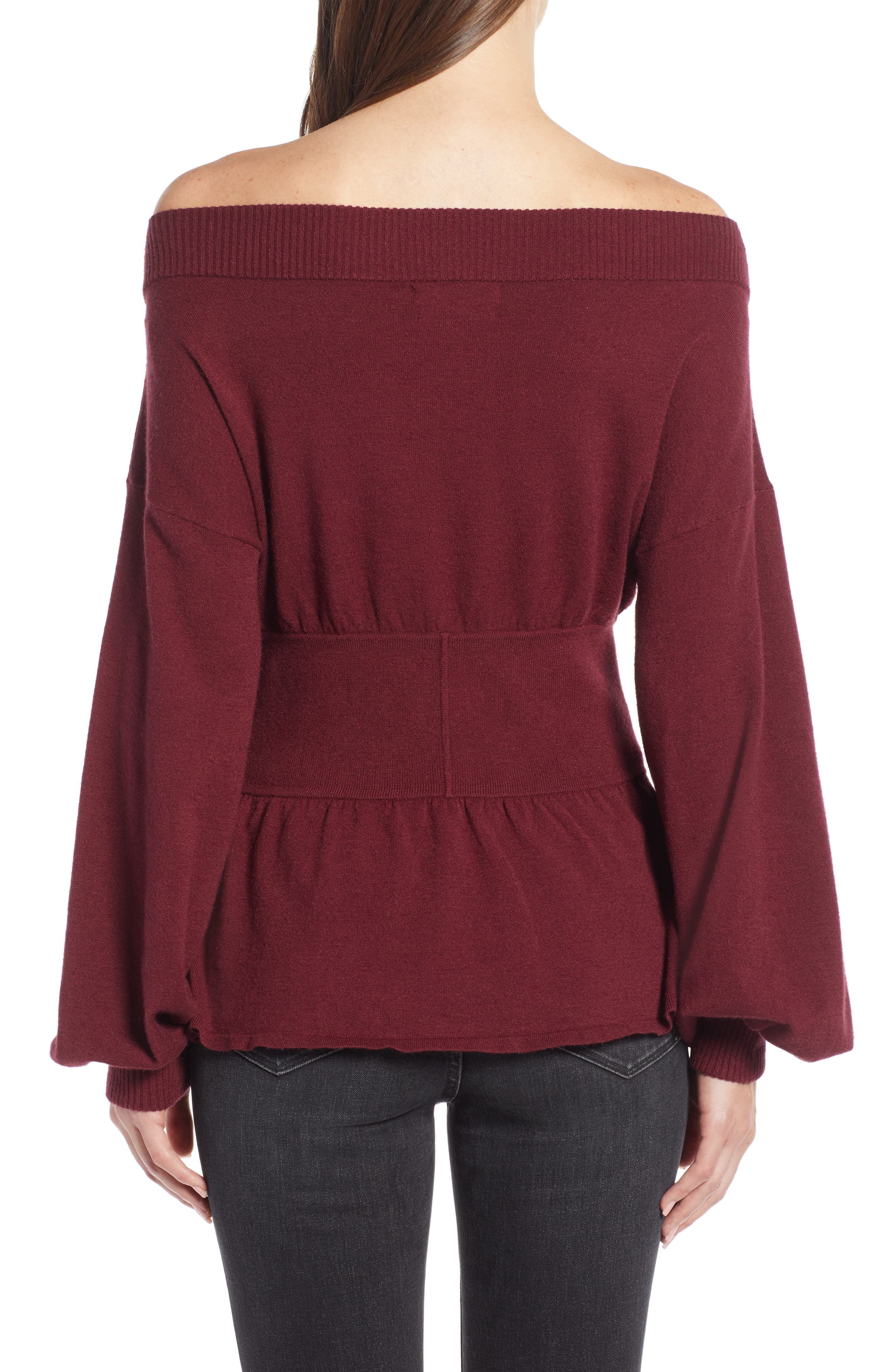Waist Detail Off the Shoulder Sweater,                             Alternate thumbnail 2, color,                             601