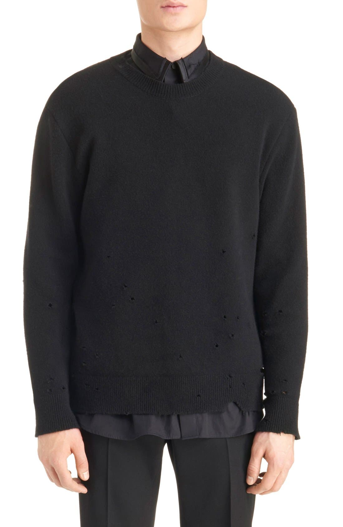Destroyed Wool Sweater,                         Main,                         color, 001