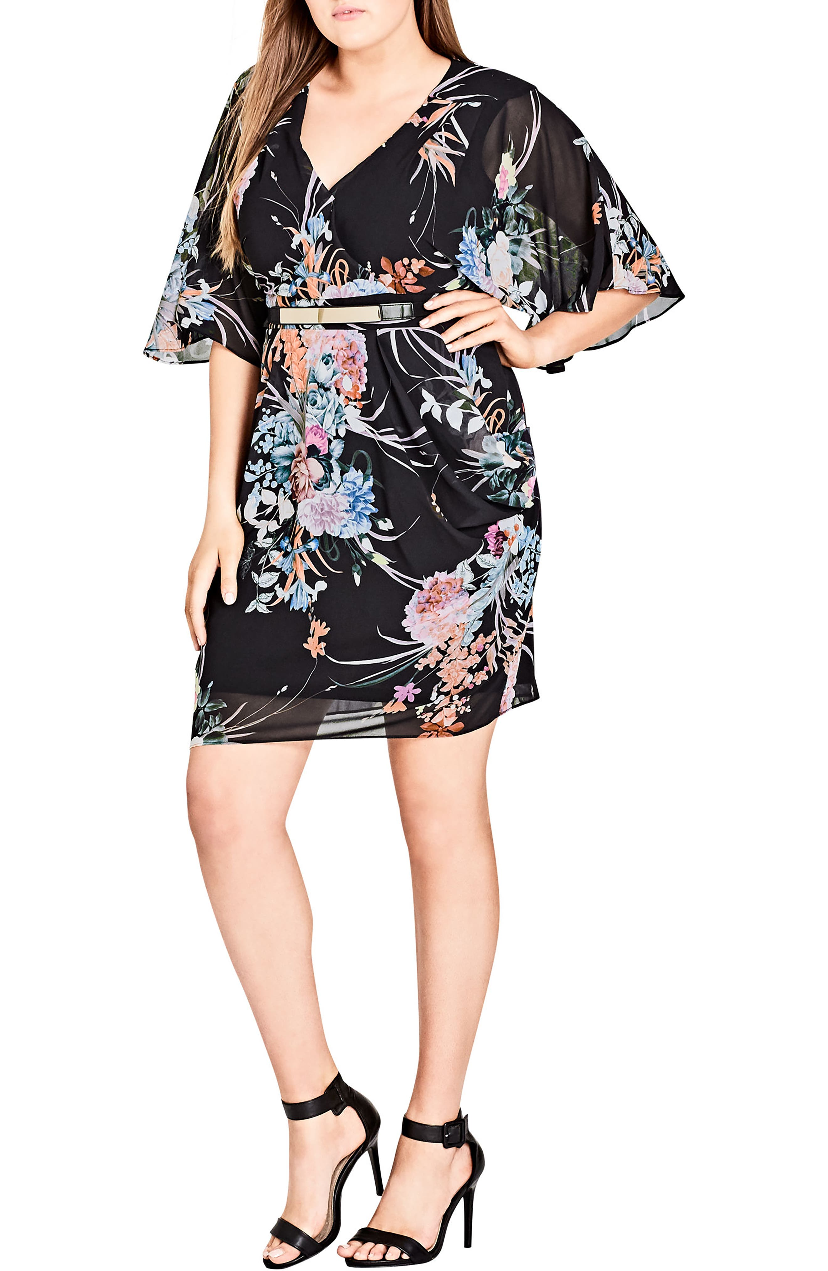 Wrap Flourish Shift Dress,                         Main,                         color, FLOURISH