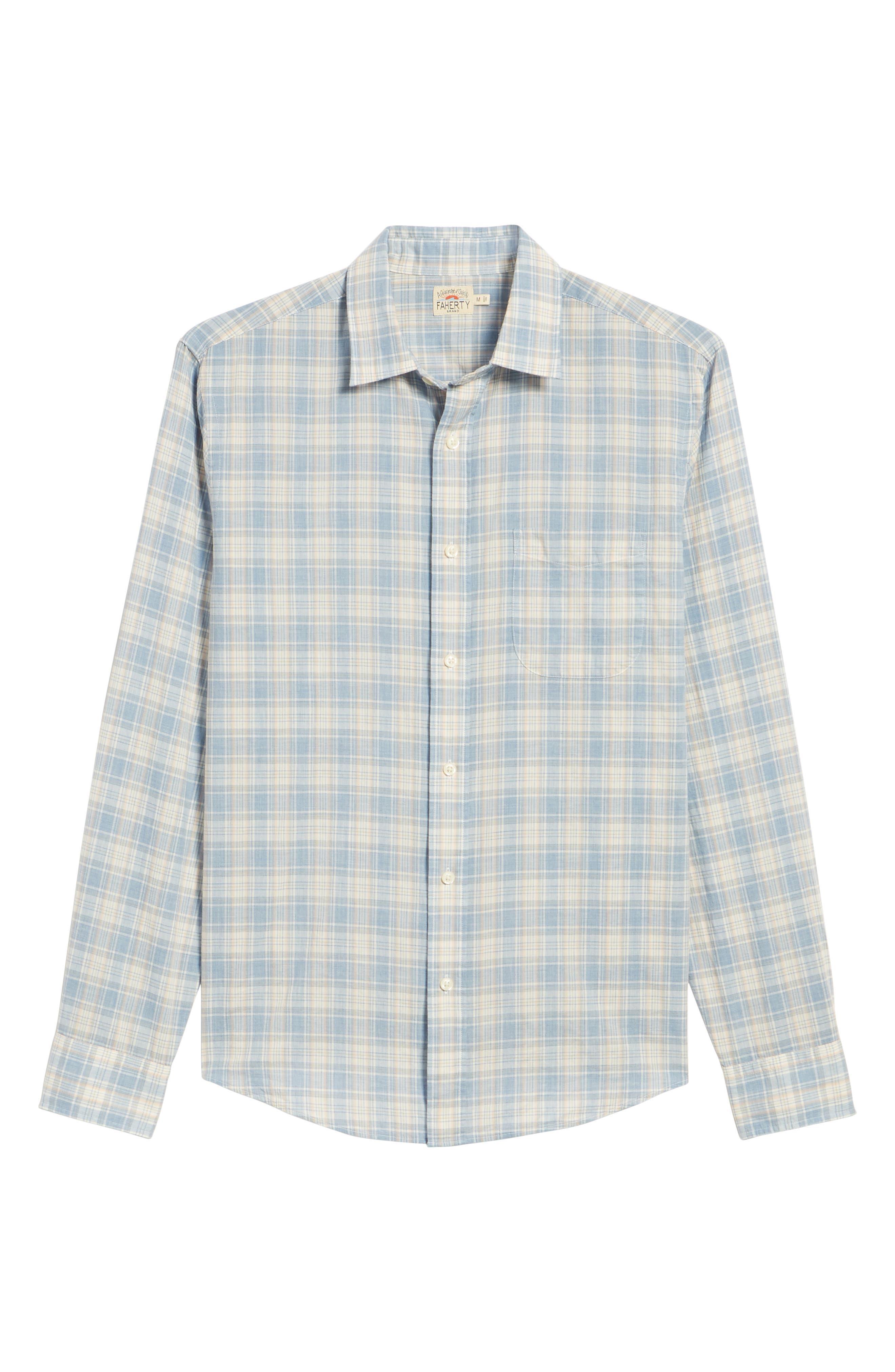 Ventura Plaid Sport Shirt,                             Alternate thumbnail 6, color,                             BLUE CORAL GREY
