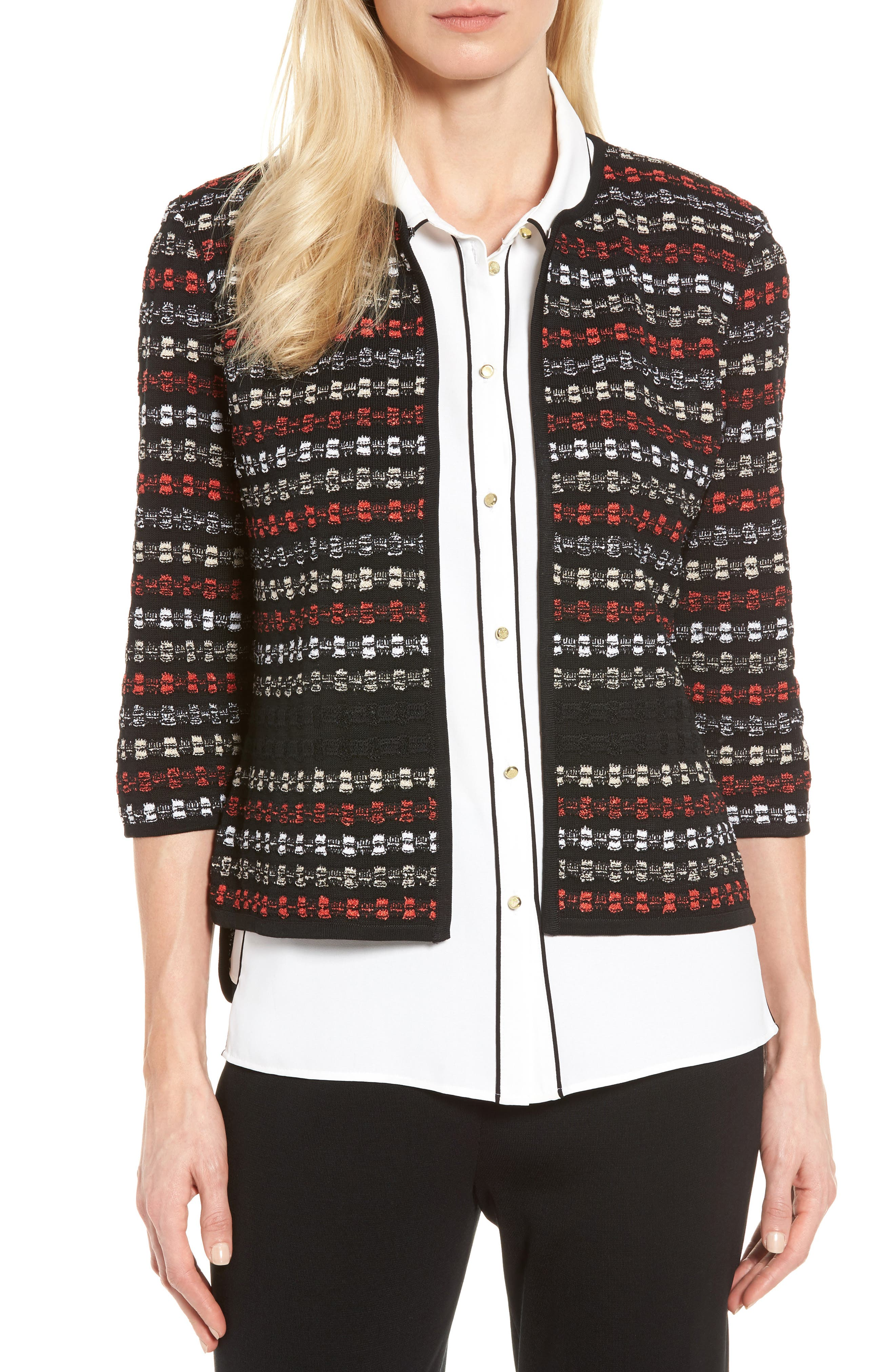 Three-Quarter Sleeve Knit Jacket,                             Main thumbnail 1, color,                             006