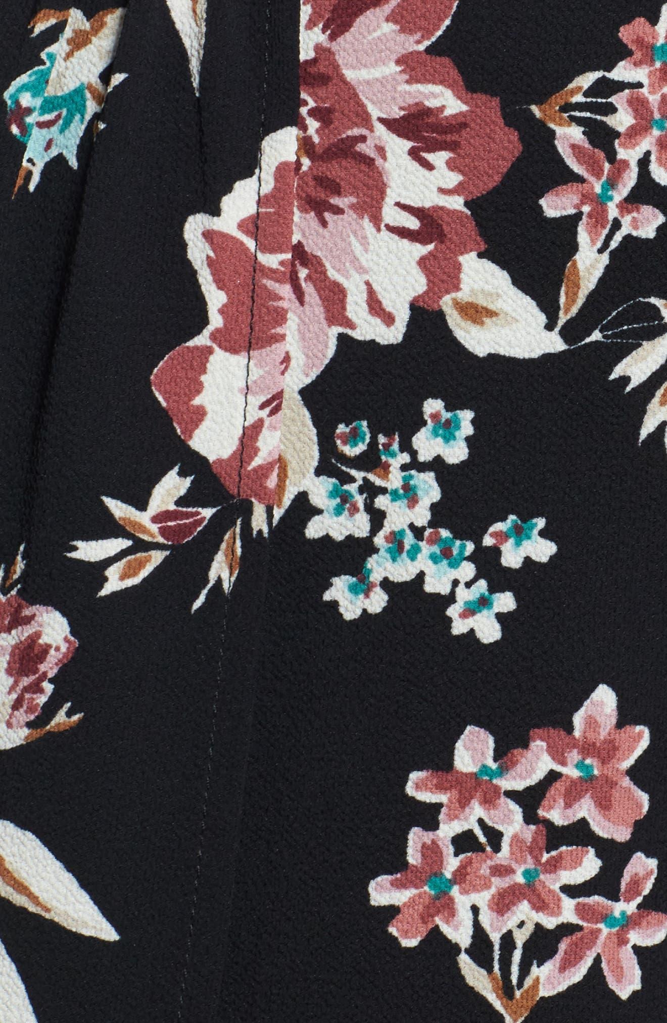 Floral Print Maxi Romper,                             Alternate thumbnail 5, color,                             001