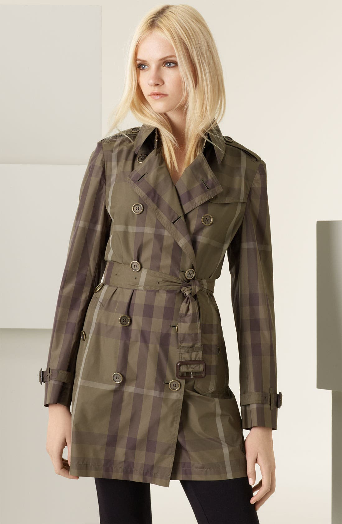 Giant Check Print Packable Trench Coat,                             Main thumbnail 1, color,                             261