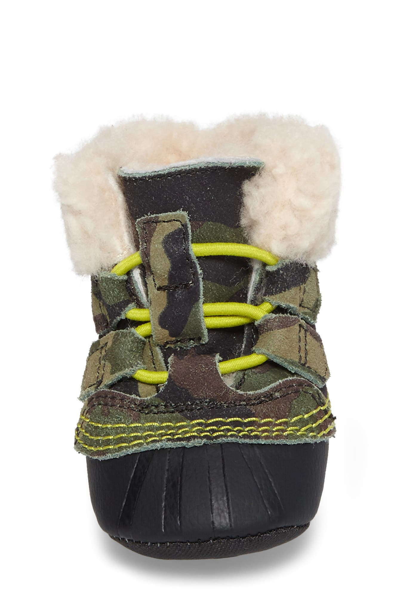 Caribootie Genuine Shearling Crib Shoe,                             Alternate thumbnail 22, color,