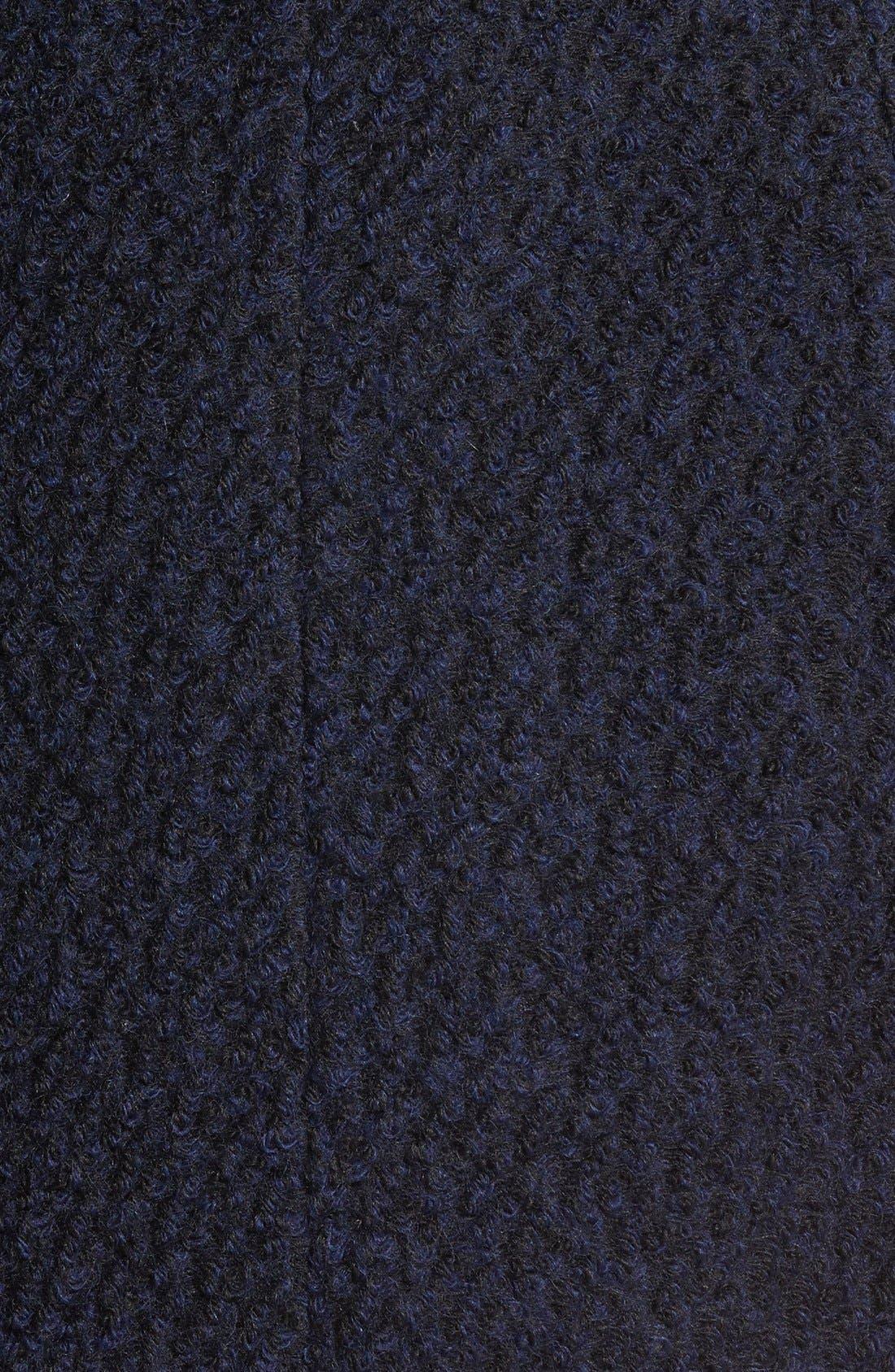 Belted Asymmetrical Bouclé Wool Blend Coat,                             Alternate thumbnail 5, color,                             004