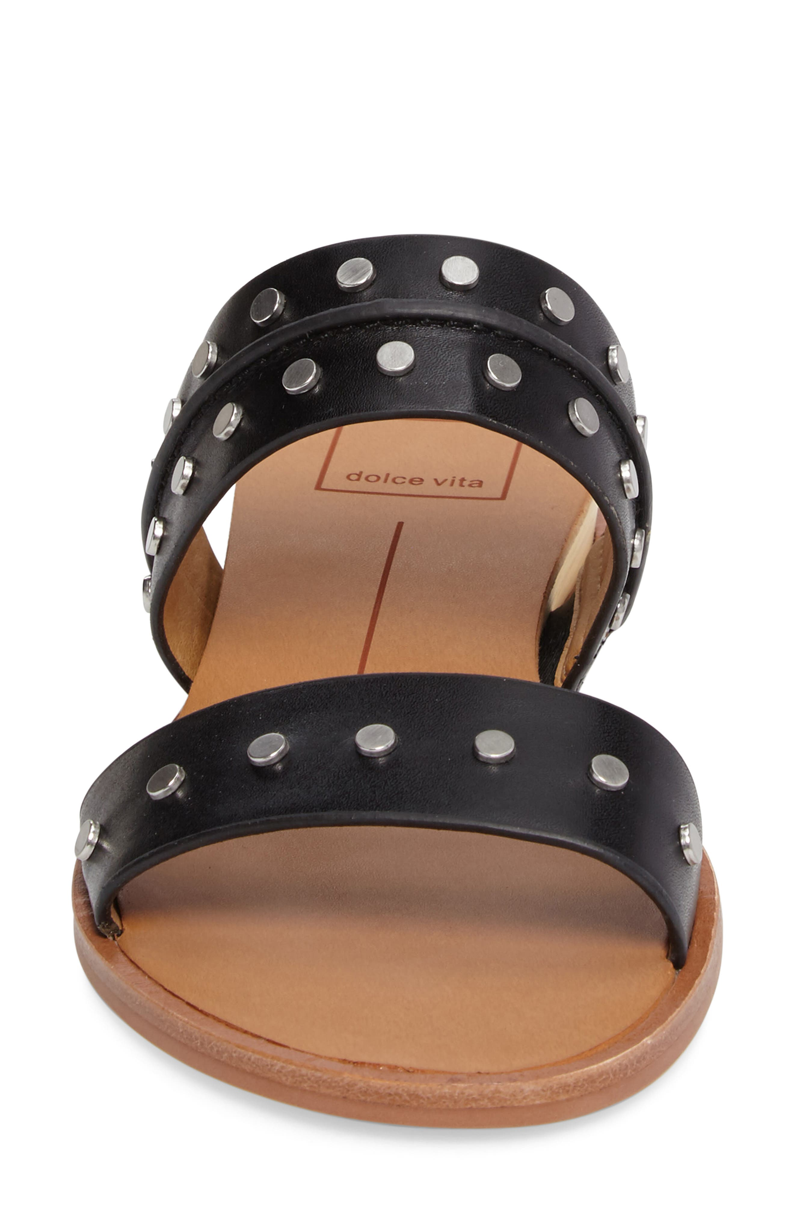 Pacey Studded Wedge Sandal,                             Alternate thumbnail 4, color,                             001