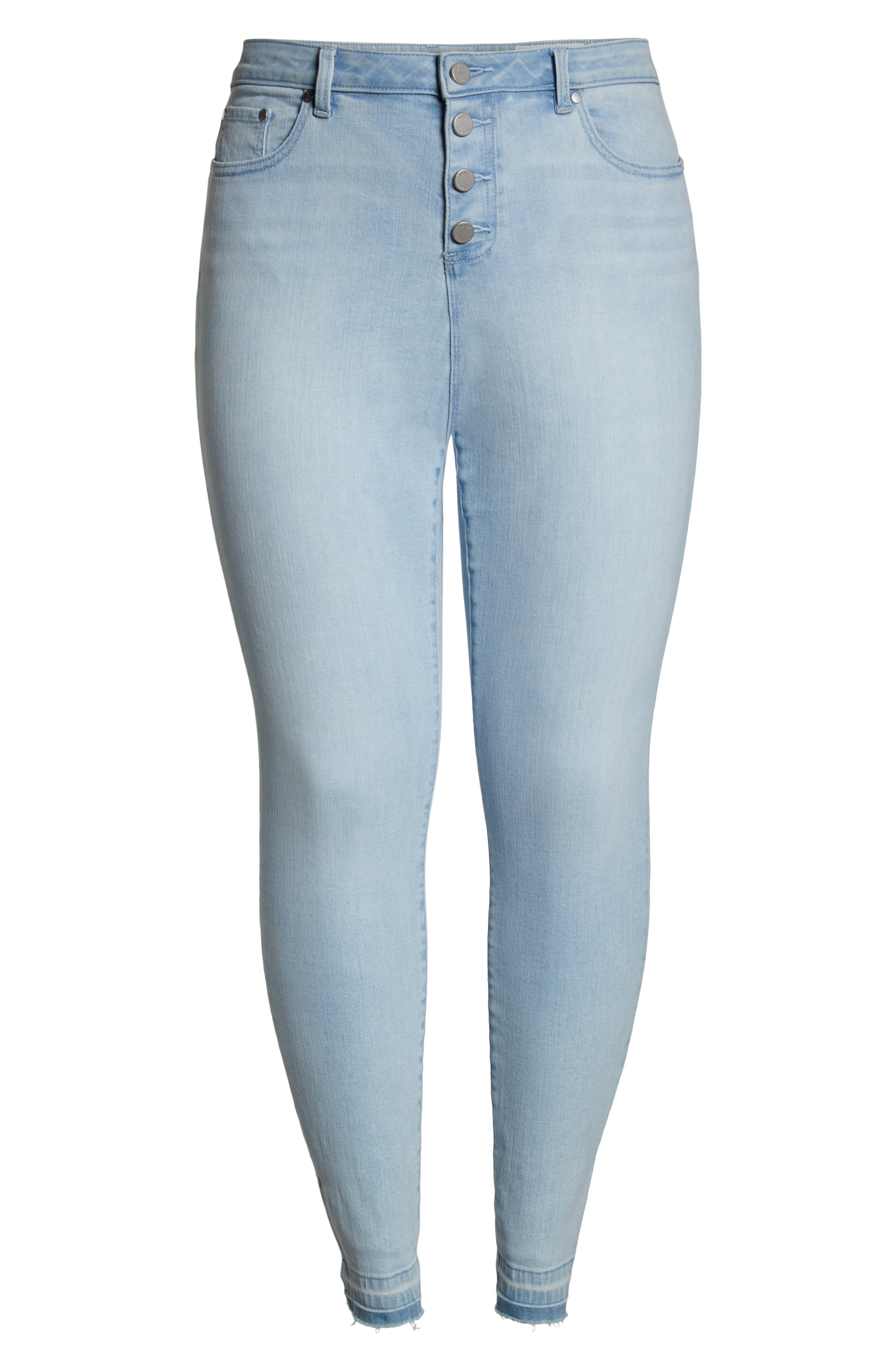 Button Fly High Waist Jeans,                             Alternate thumbnail 6, color,                             400