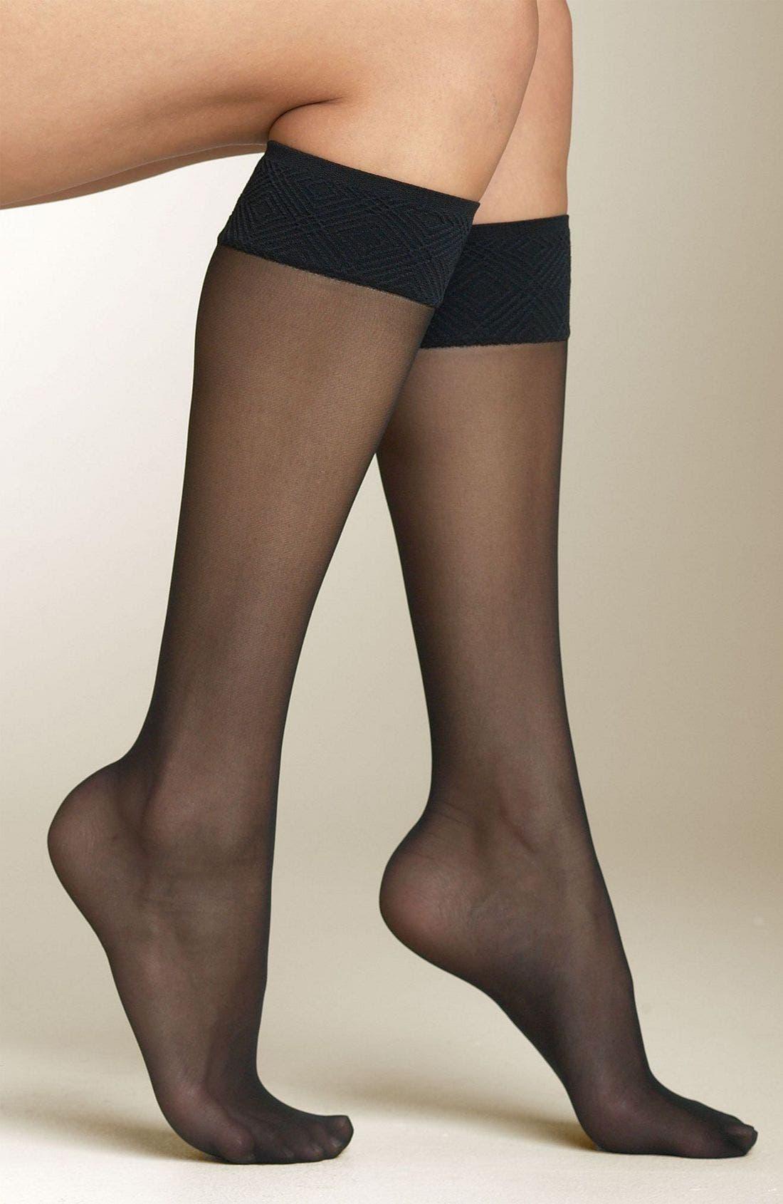 Sheer Knee Highs,                         Main,                         color, BLACK