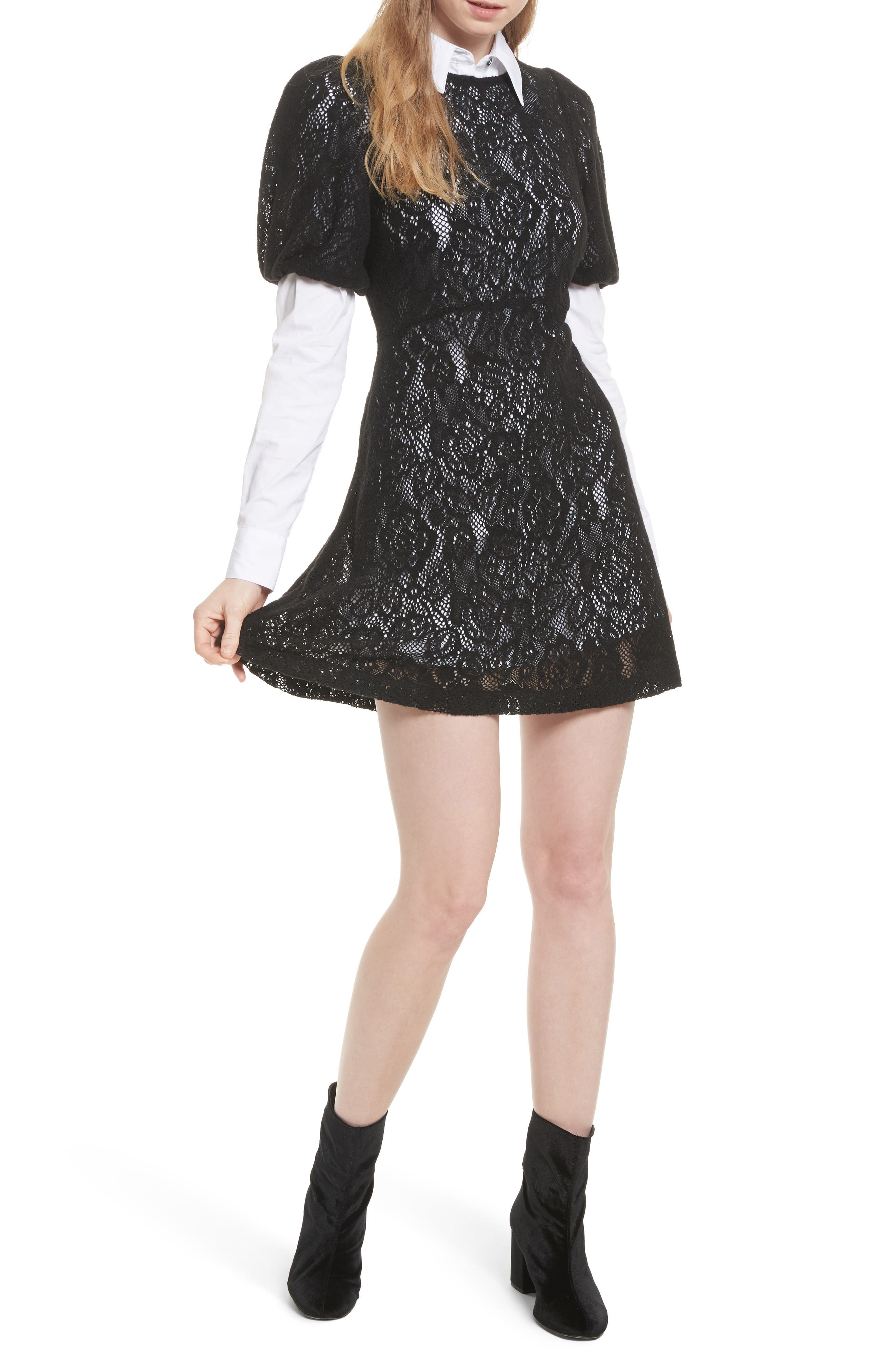 Pretty Princess Dress Shirtdress with Lace Overlay,                         Main,                         color, 019