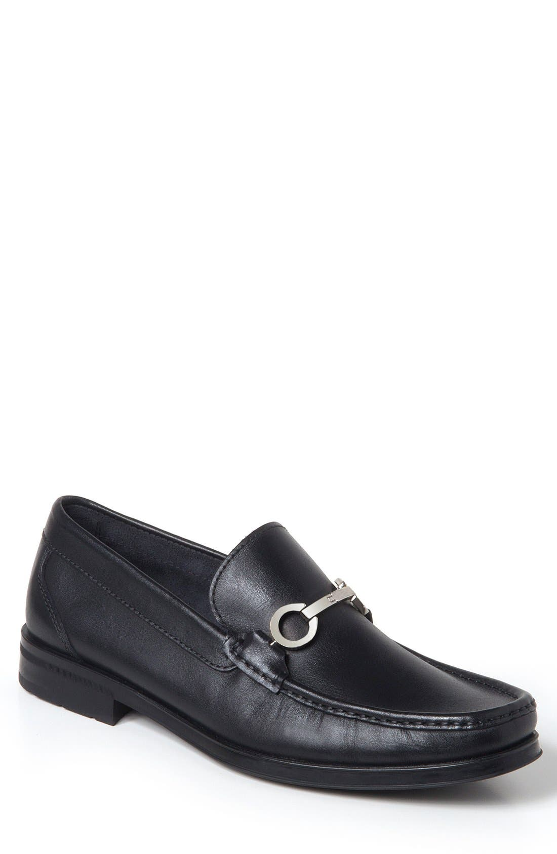 Genoa Bit Loafer,                         Main,                         color, BLACK LEATHER