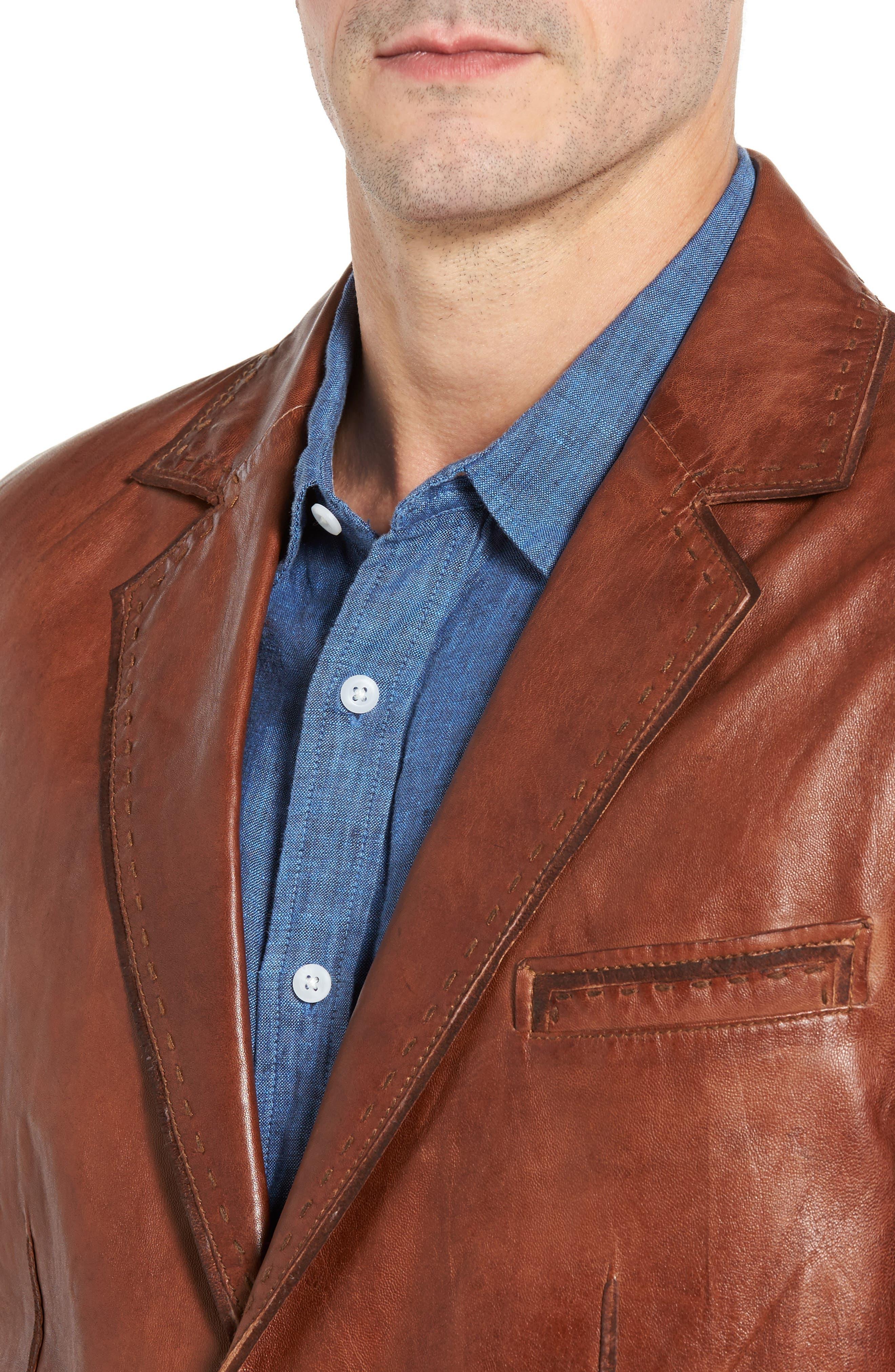 Lamb Leather Blazer,                             Alternate thumbnail 4, color,                             210