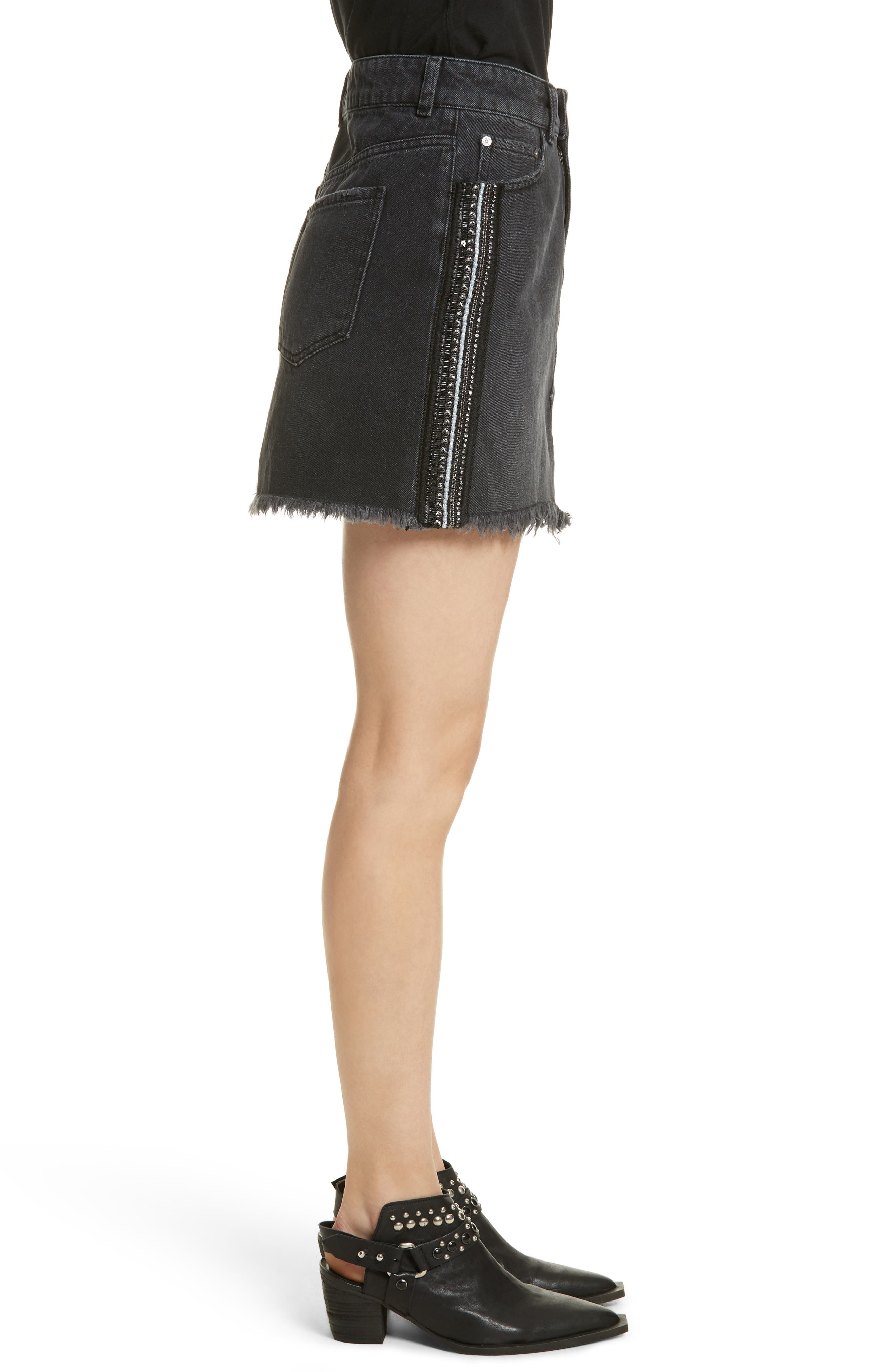 FREE PEOPLE,                             Stripe Cutoff Denim Miniskirt,                             Alternate thumbnail 3, color,                             001