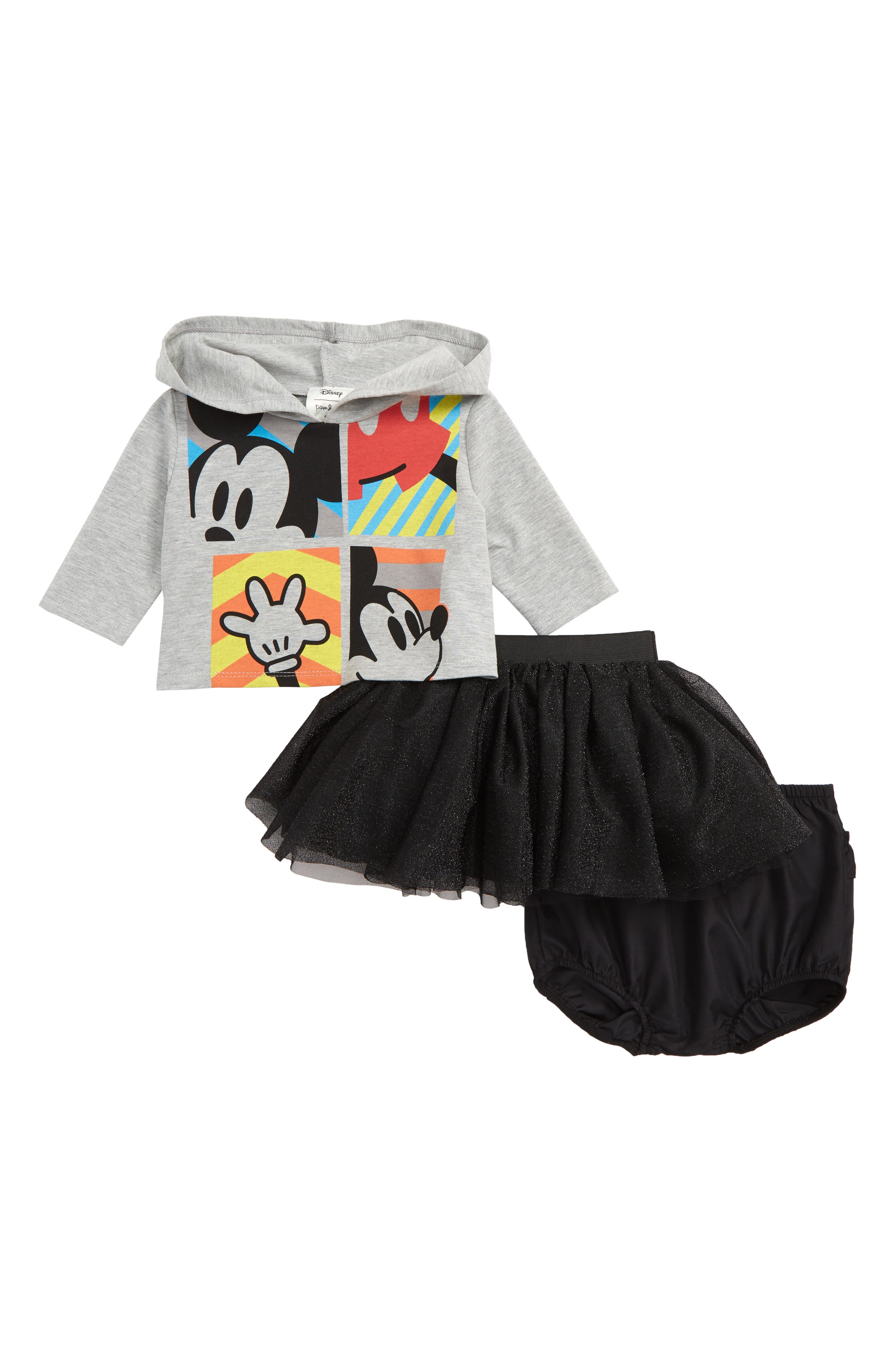 x Disney<sup>®</sup> Mickey Mouse Hoodie, Tutu & Bloomers Set,                             Main thumbnail 1, color,                             020