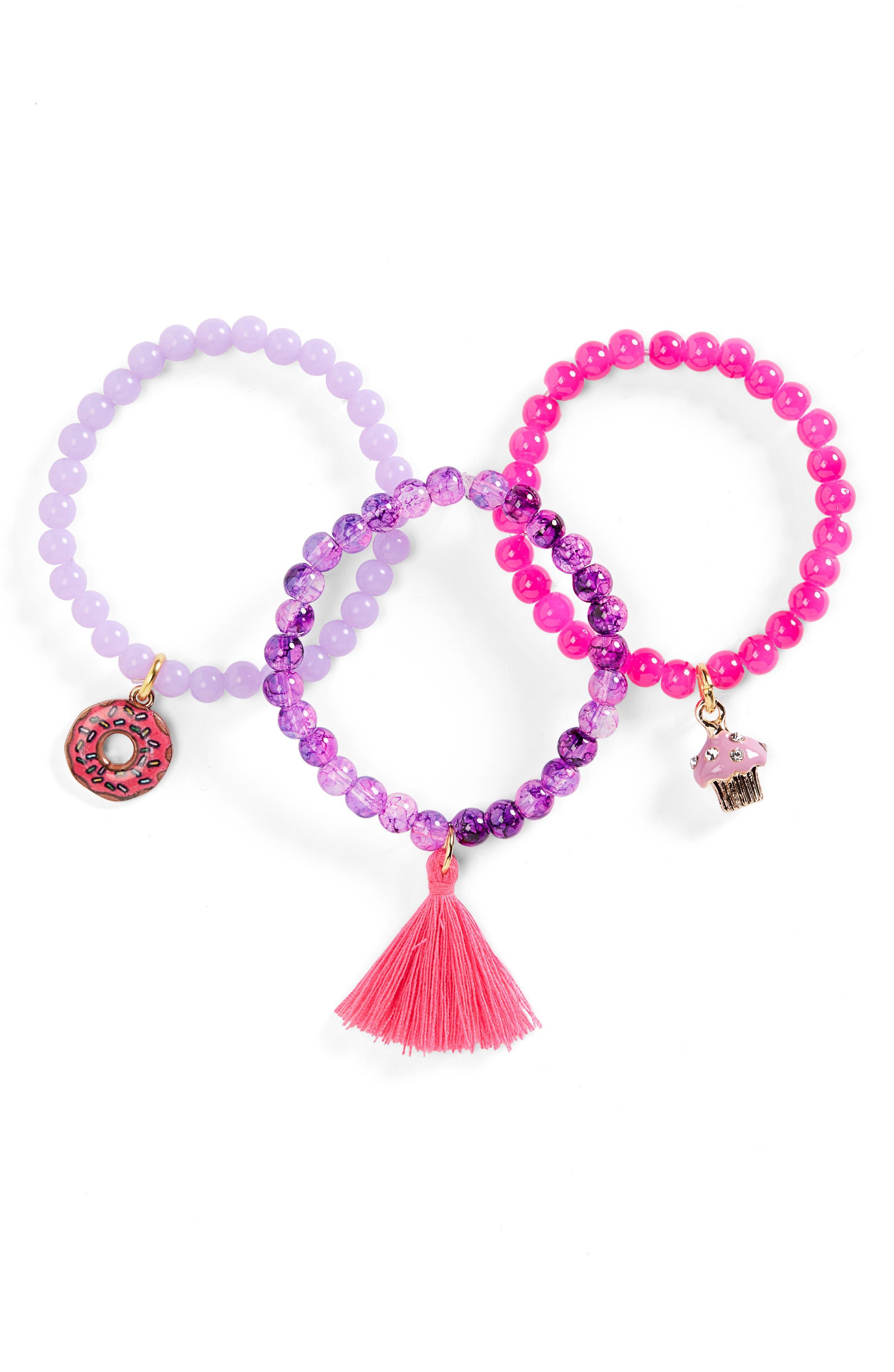 Set of 3 Beaded Stretch Bracelets,                         Main,                         color, PURPLE