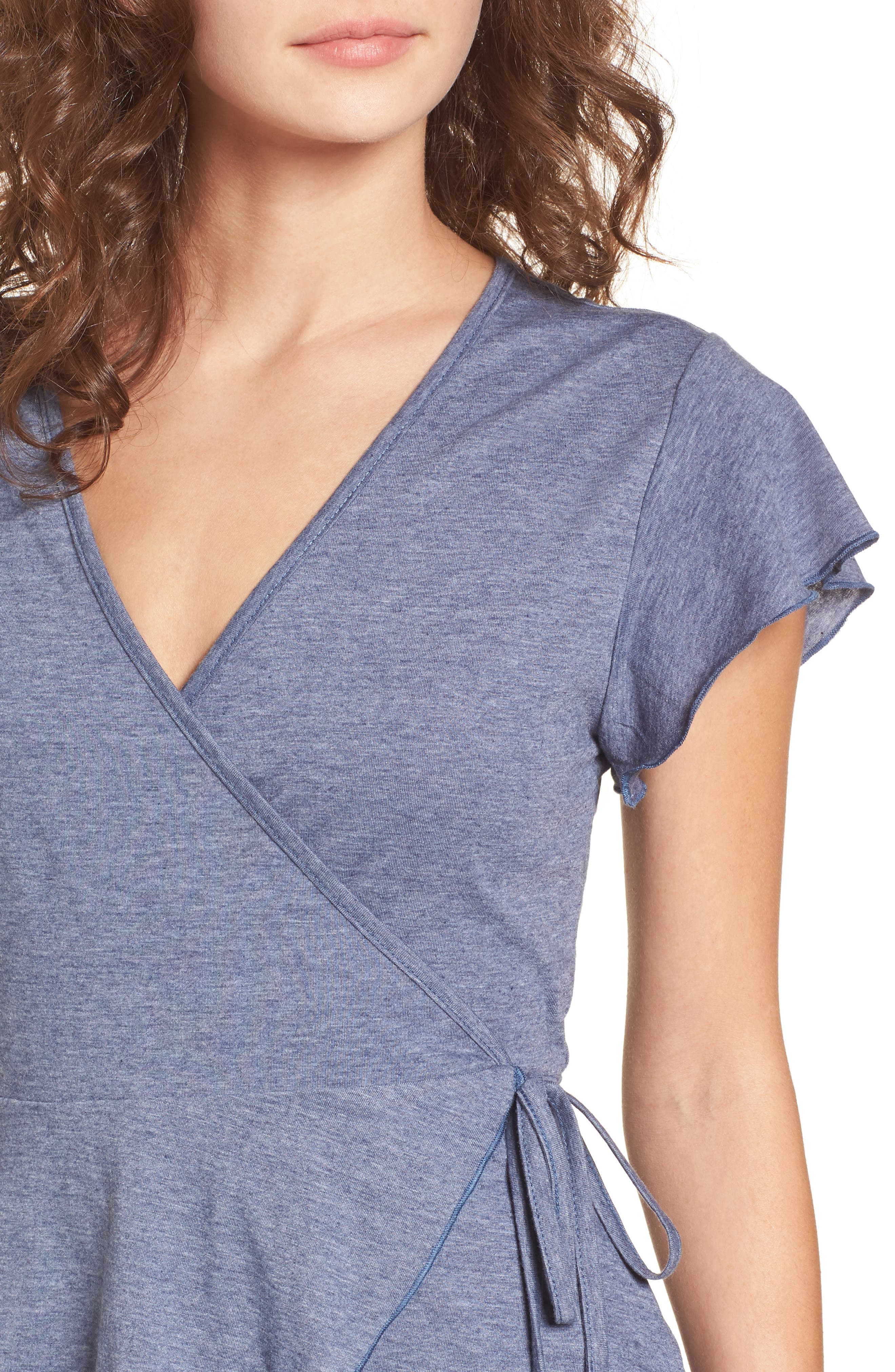 Wrap Peplum Tee,                             Alternate thumbnail 4, color,                             410