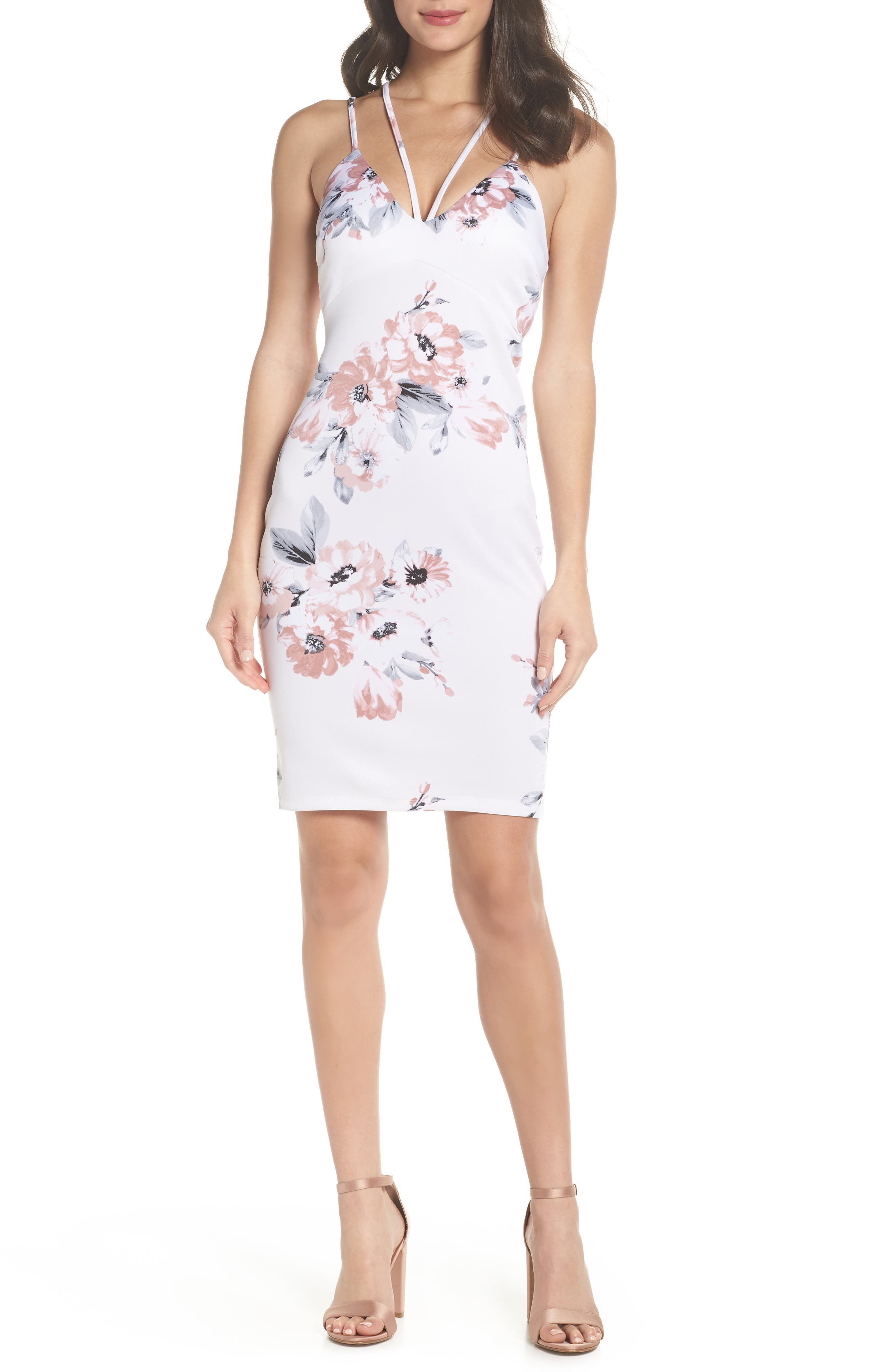 Floral Print Double Strap Scuba Dress,                         Main,                         color, IVORY/ MAUVE