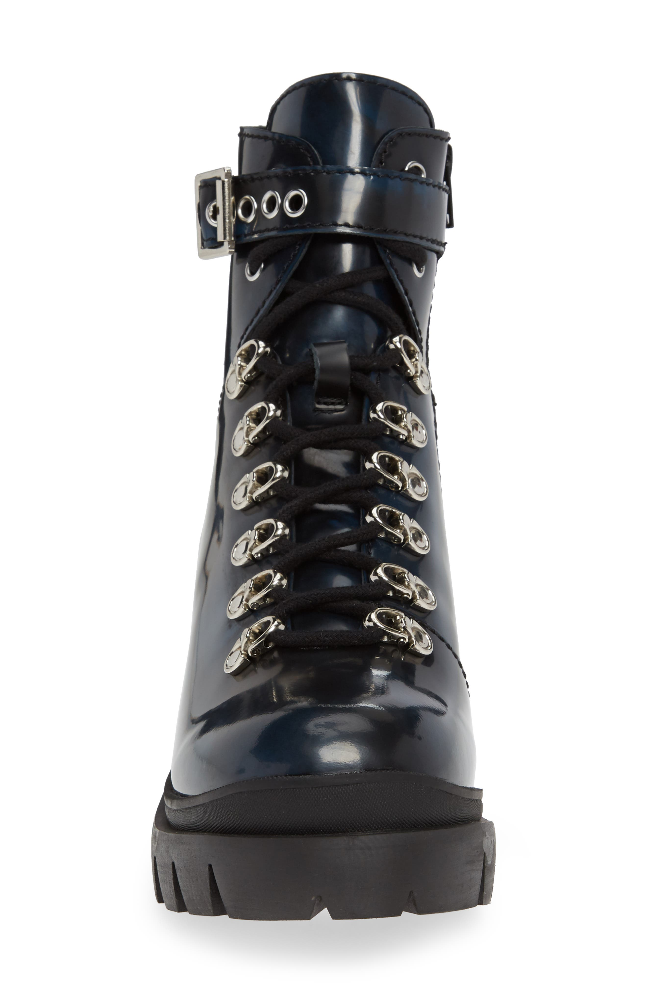 Czech Lace-Up Boot,                             Alternate thumbnail 4, color,                             NAVY LEATHER