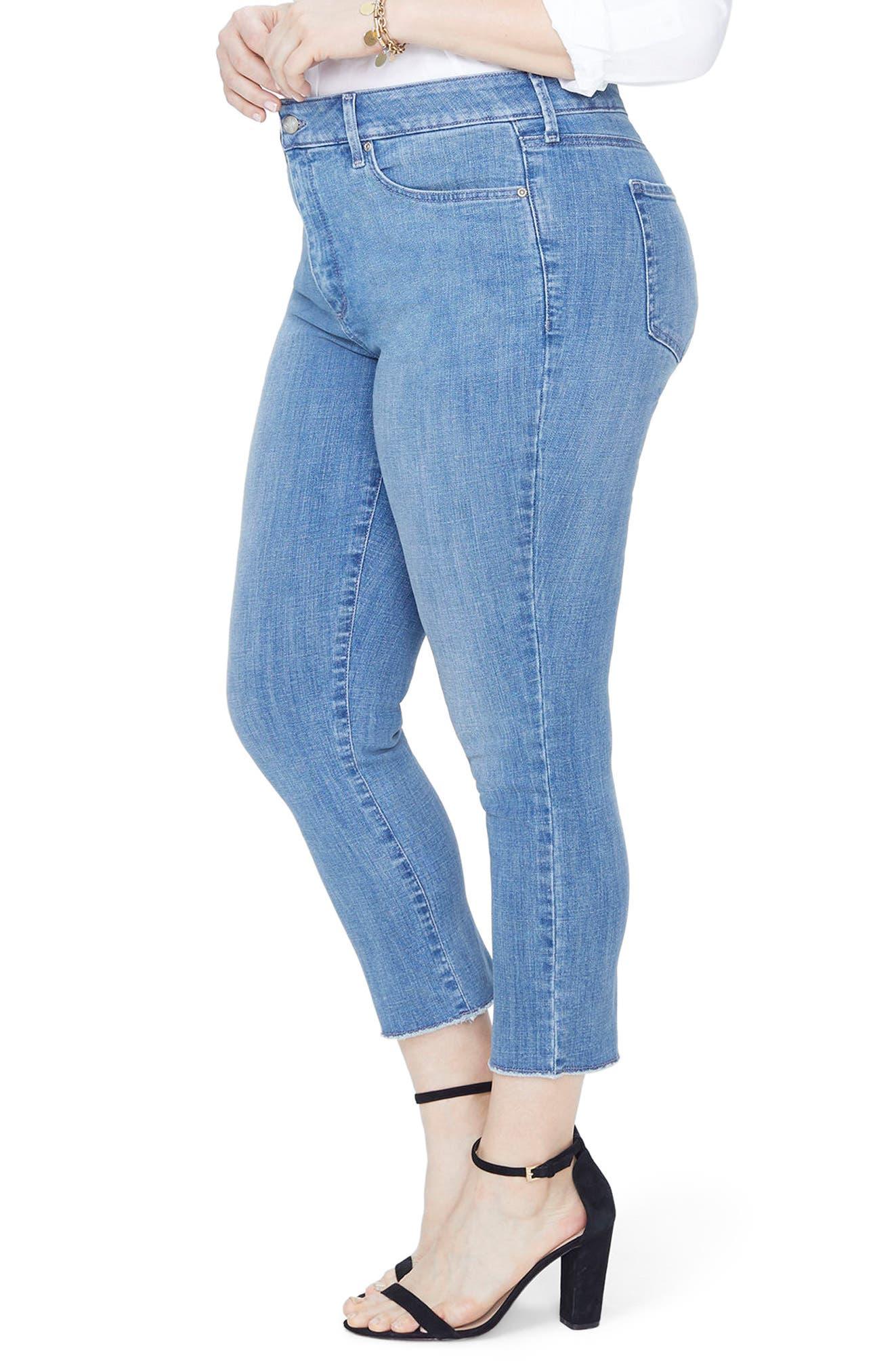 Sheri High Rise Slim Fray Hem Ankle Jeans,                             Alternate thumbnail 3, color,                             MAXWELL