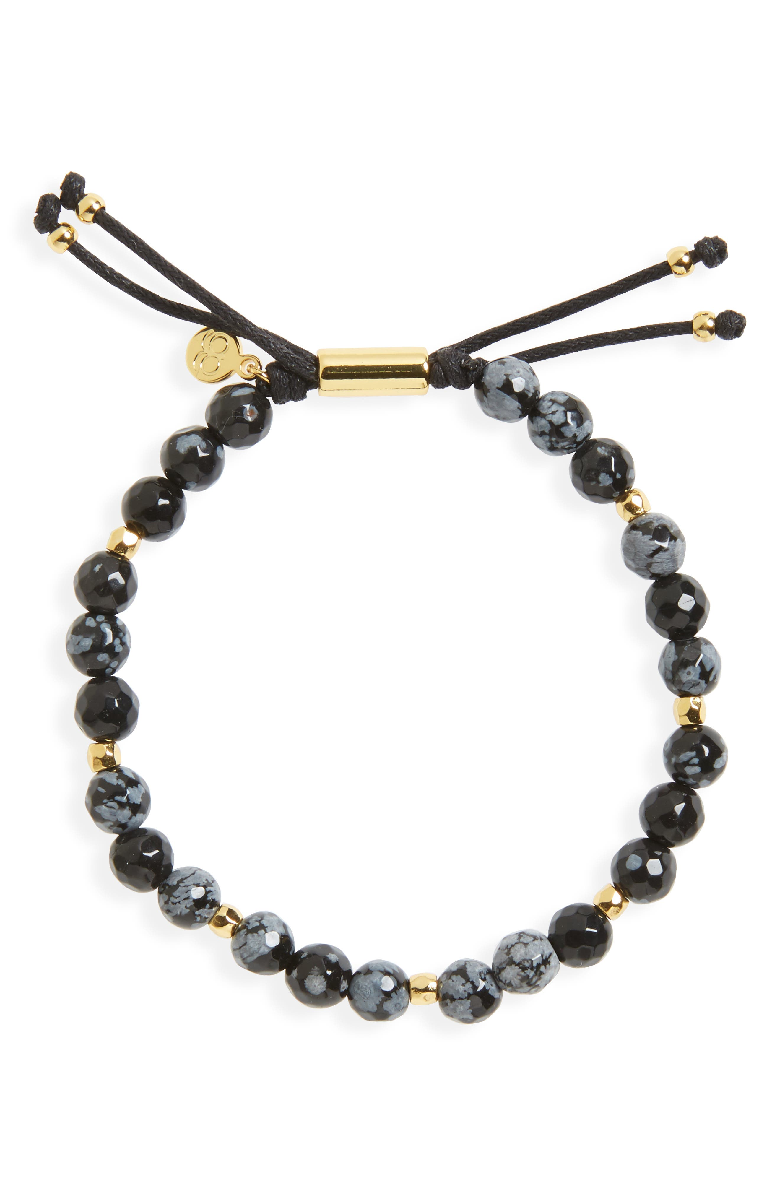 Power Gemstone Beaded Bracelet,                         Main,                         color, SNOWFLAKE OBSIDIAN/ GOLD