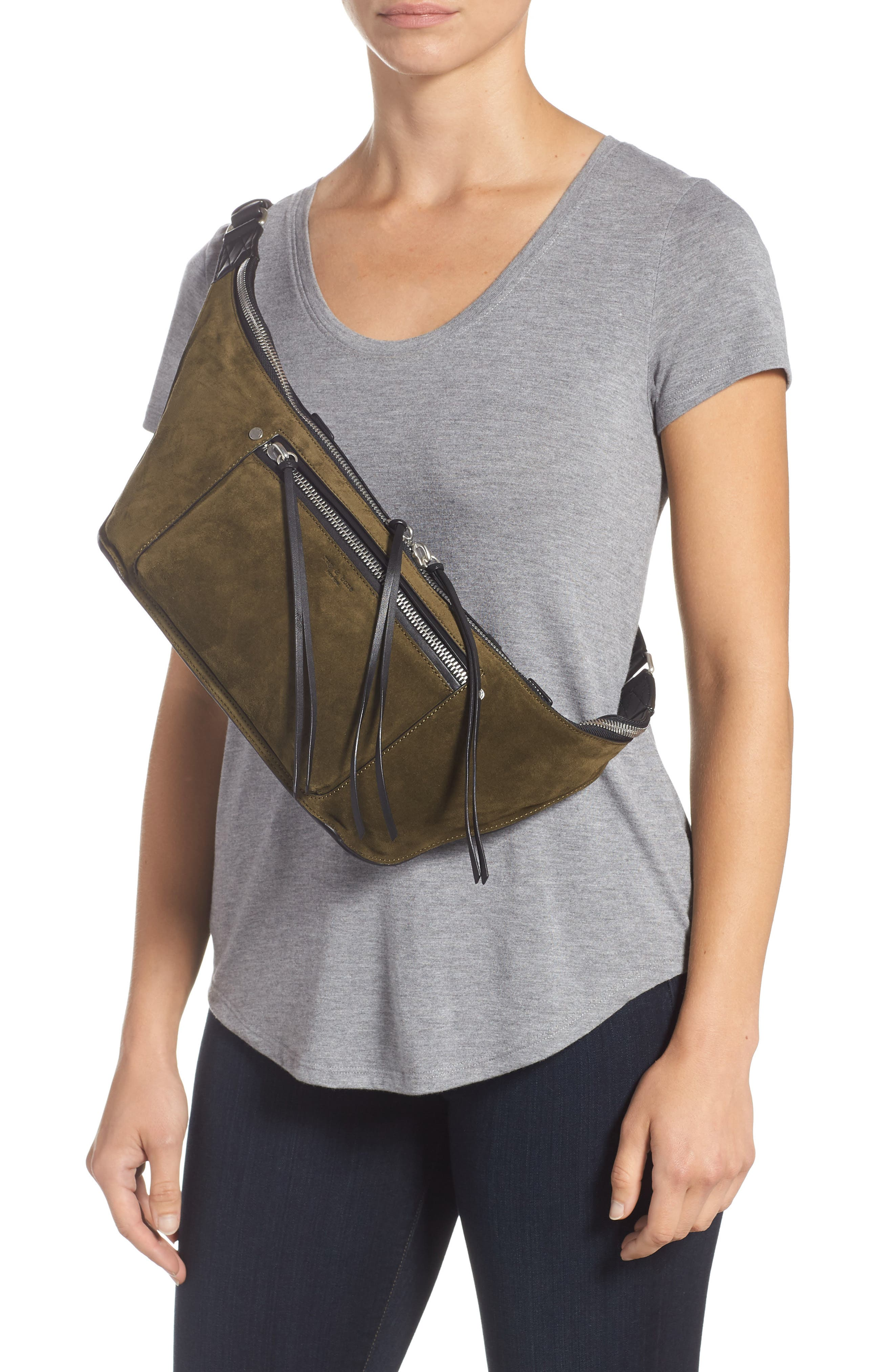 Large Elliot Genuine Calf Hair Fanny Pack,                             Alternate thumbnail 3, color,                             OLIVE SUEDE