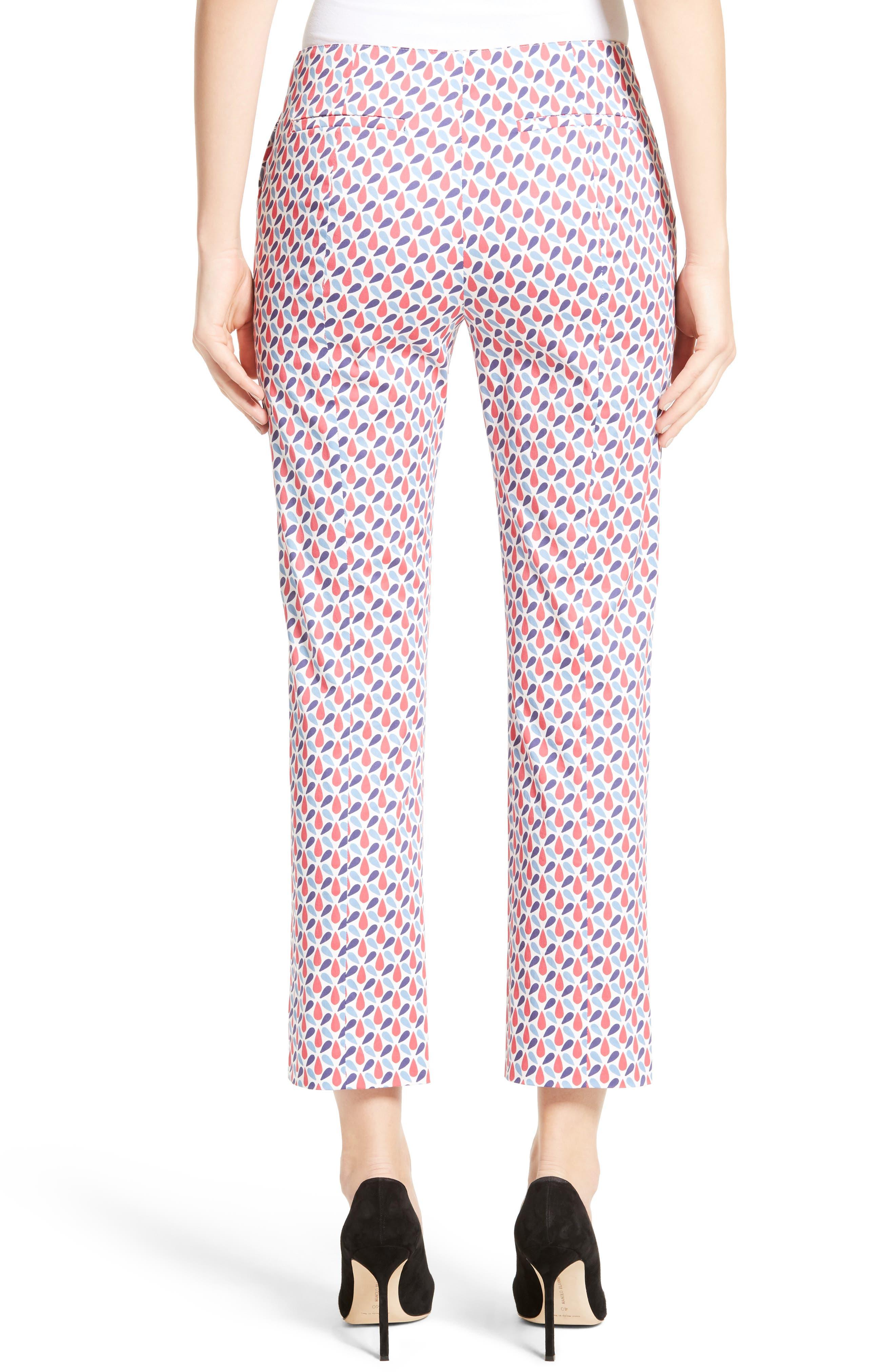 Print Stretch Cotton Ankle Pants,                             Alternate thumbnail 2, color,                             600