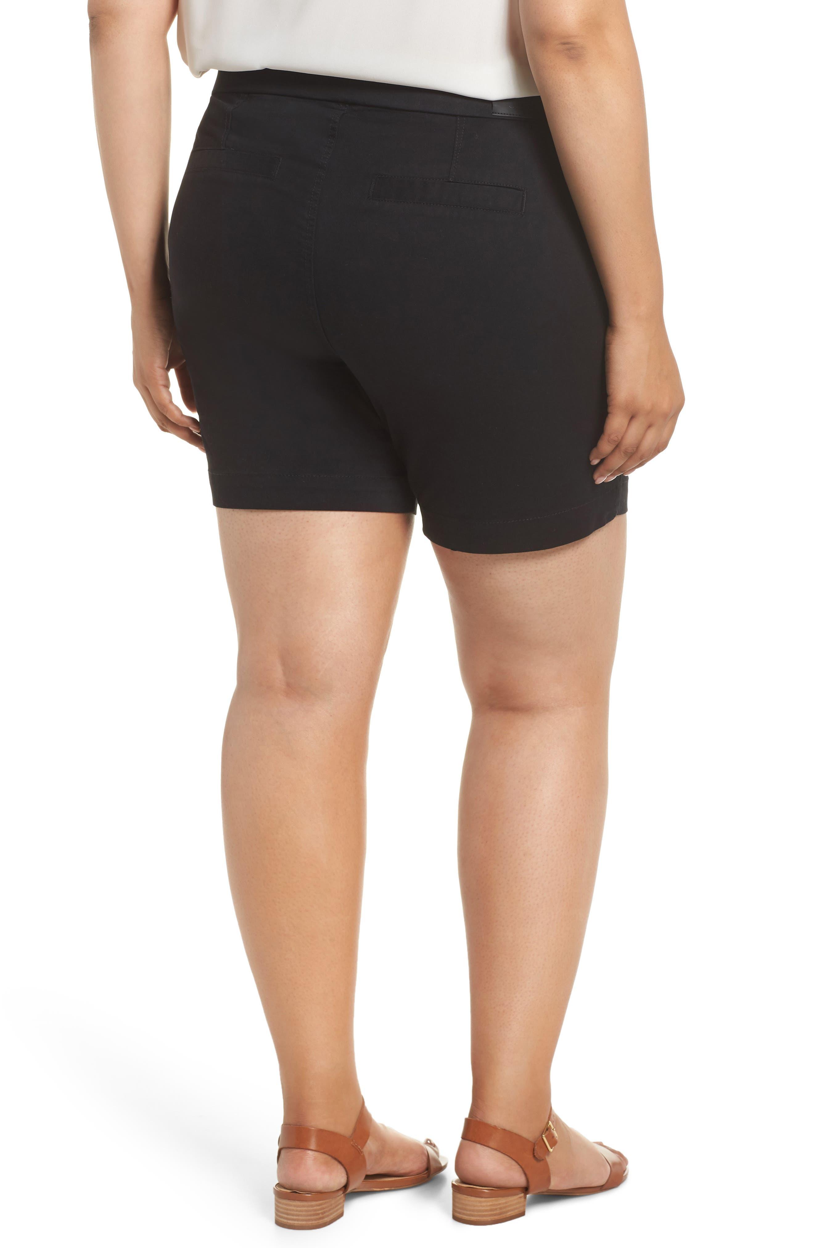 Gracie Stretch Cotton Shorts,                             Alternate thumbnail 2, color,                             BLACK