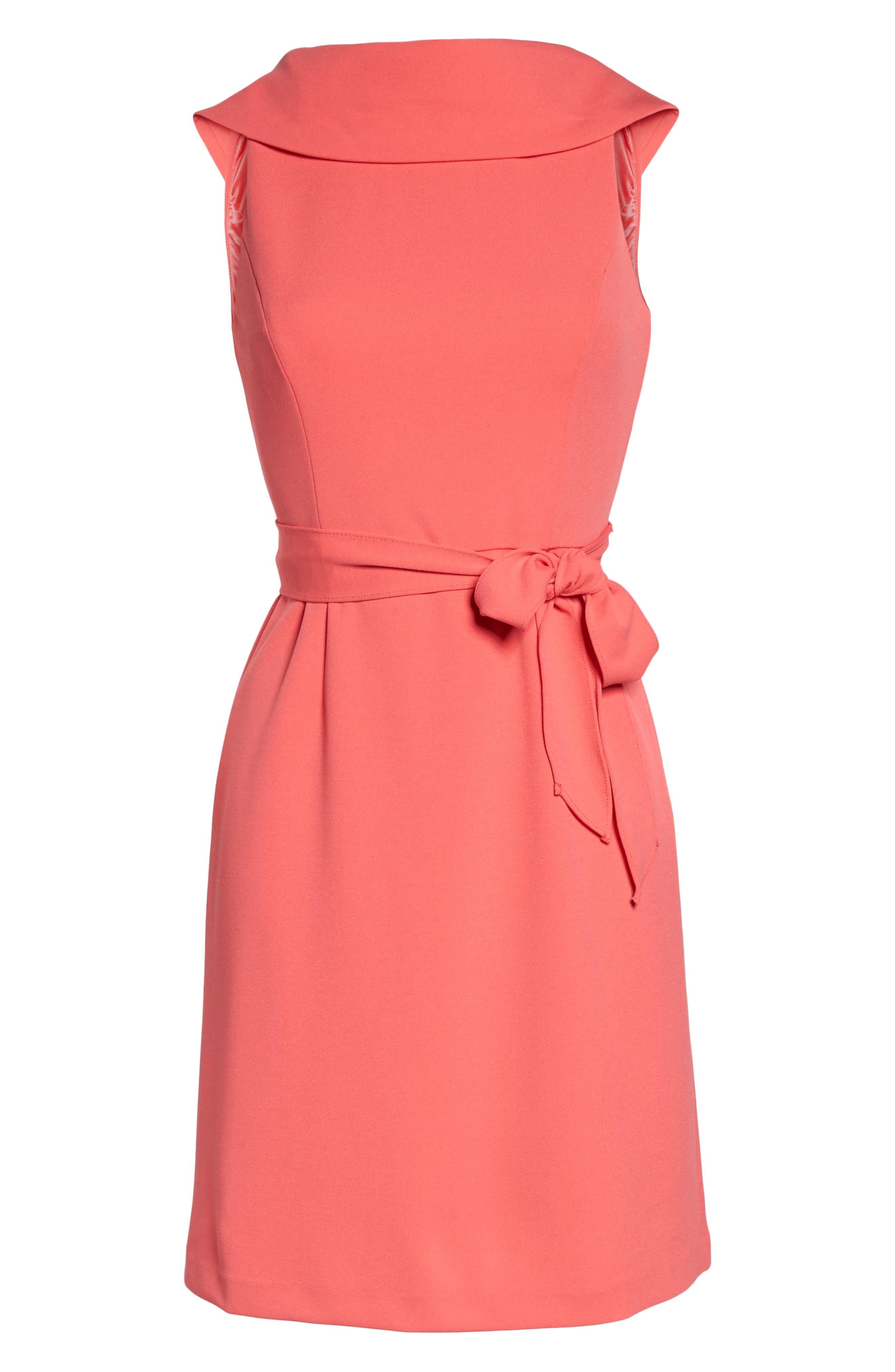Roll Neck Crepe Dress,                             Alternate thumbnail 6, color,                             650