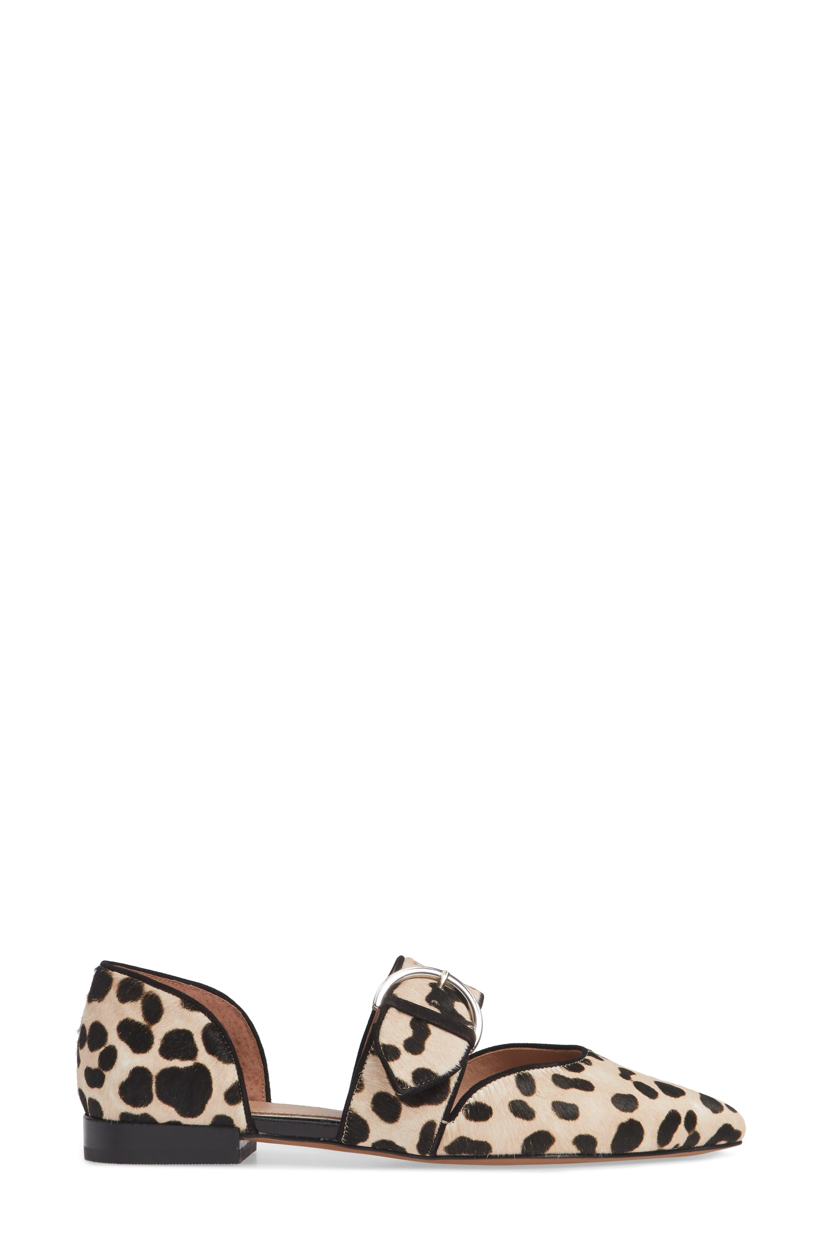 Dean Pointy Toe Flat,                             Alternate thumbnail 3, color,                             WHITE/ BLACK PRINT HAIRCALF