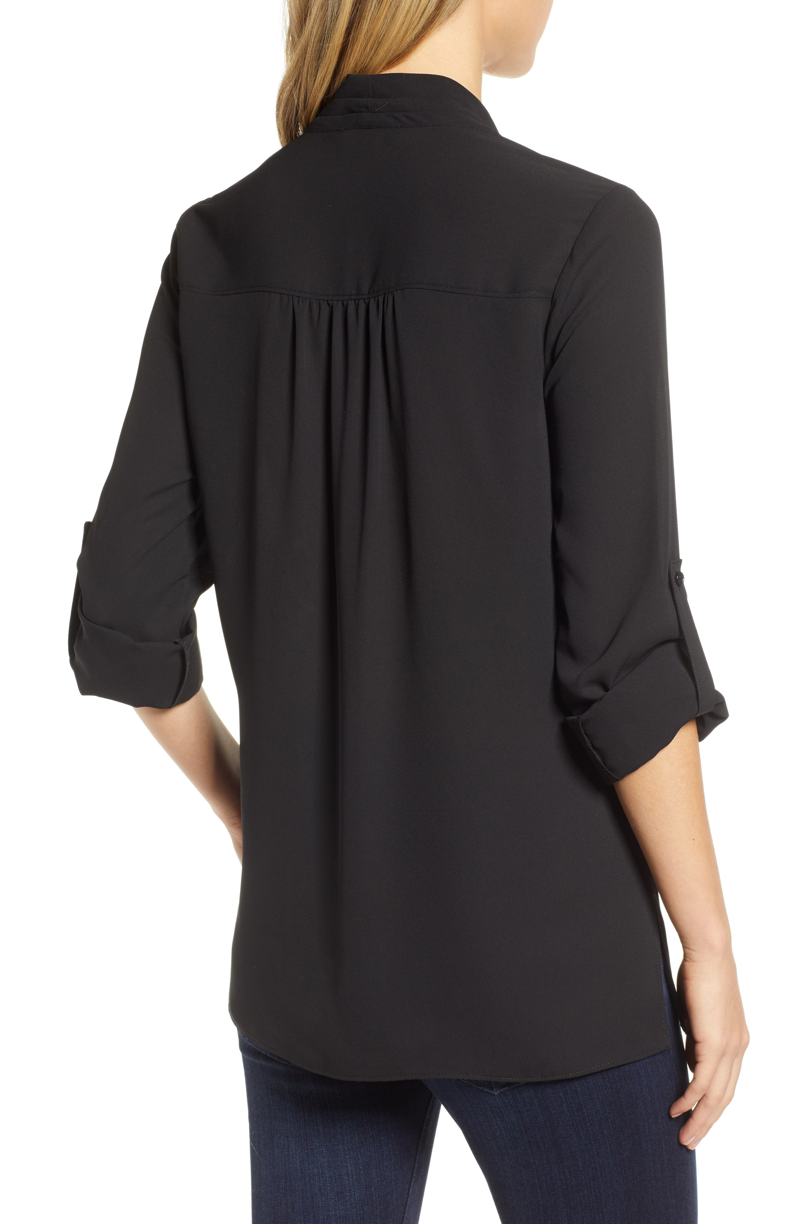 Side Drape Blouse,                             Alternate thumbnail 2, color,                             BLACK