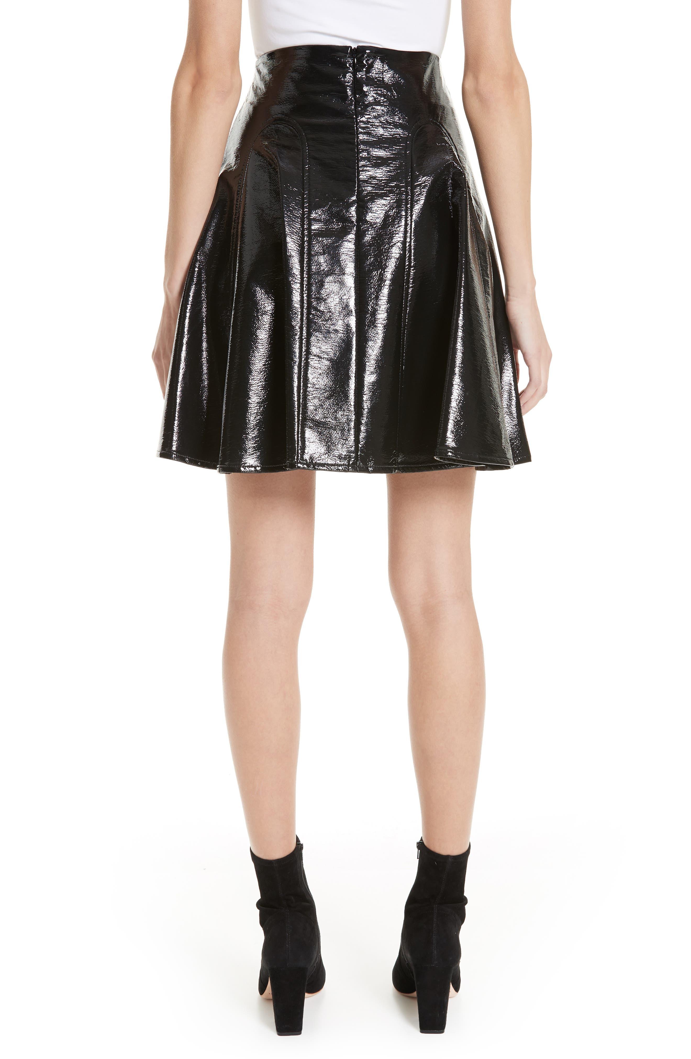 Trivia Coated Miniskirt,                             Alternate thumbnail 2, color,                             BLACK